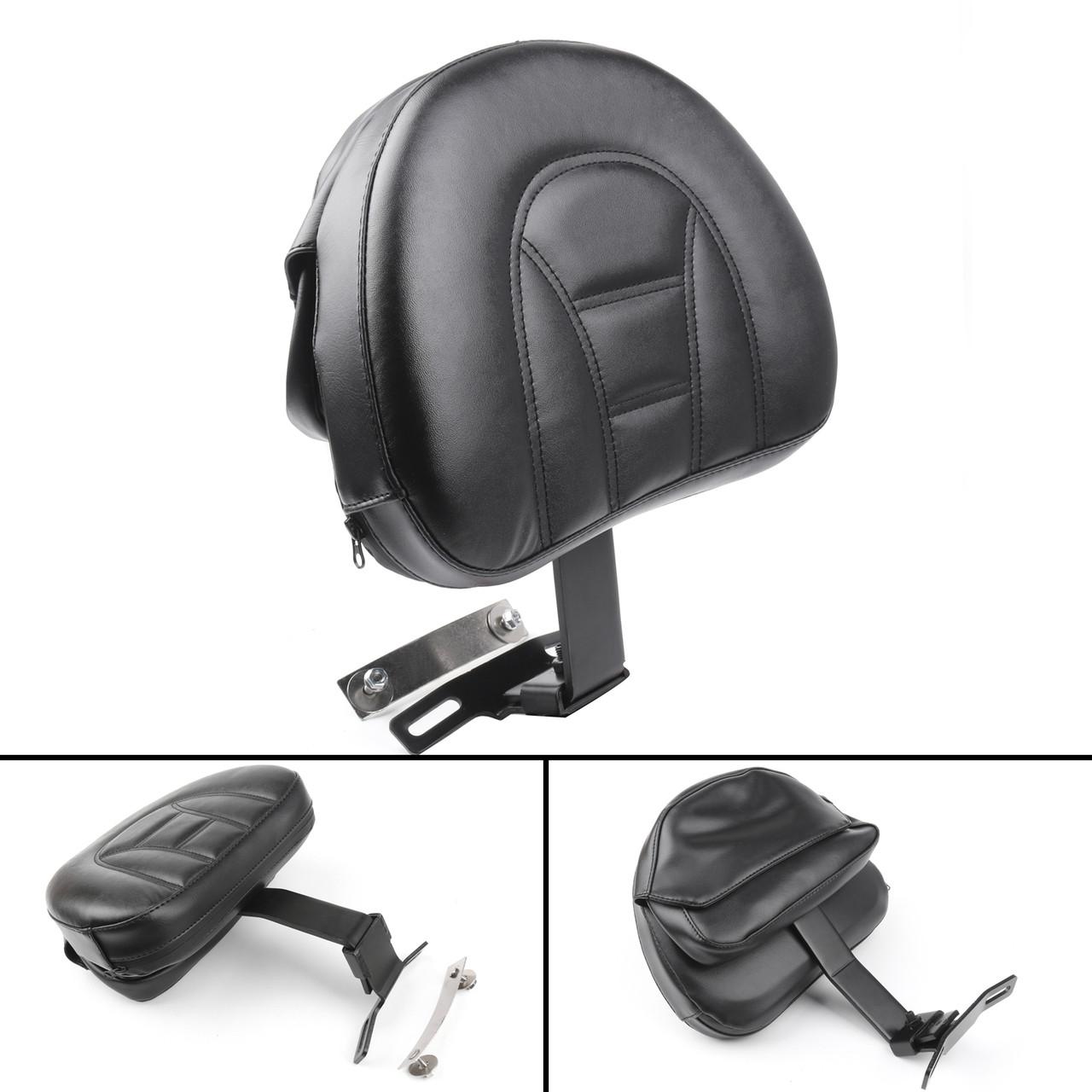 Adjustable Driver Rider Backrest Pad For Harley Fatboy Heritage Softail (07-17) Black