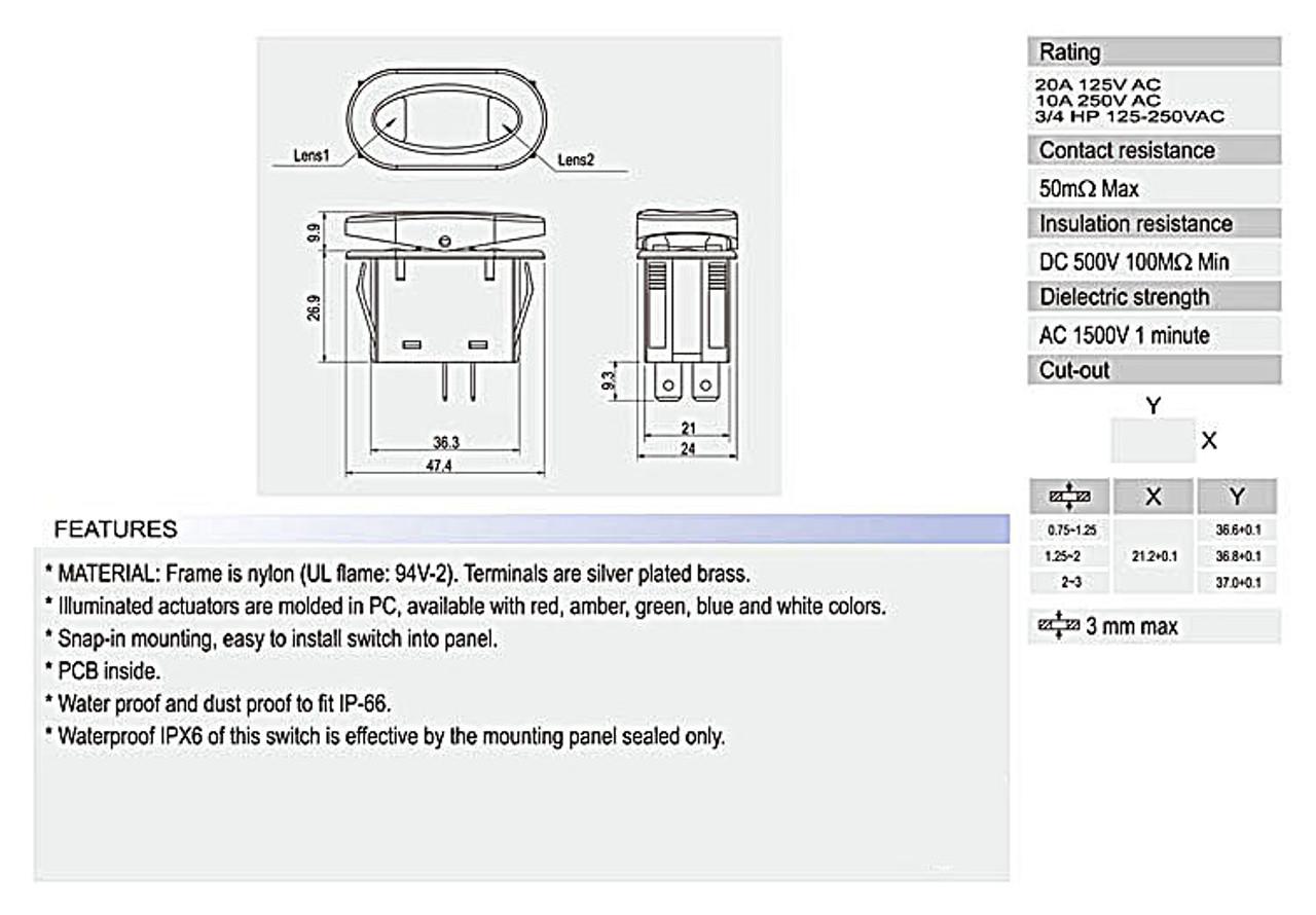 1PCS Rocker Switch 2Pin ON-Off 125V/16A 250V/10A 37mm Rectangle SCI Boat Car