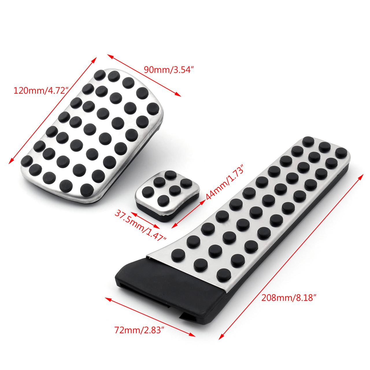 3PCS Foot Brake Pedal Pads Covers For Benz C E S GLK SLK CLS SL Class Sport Black