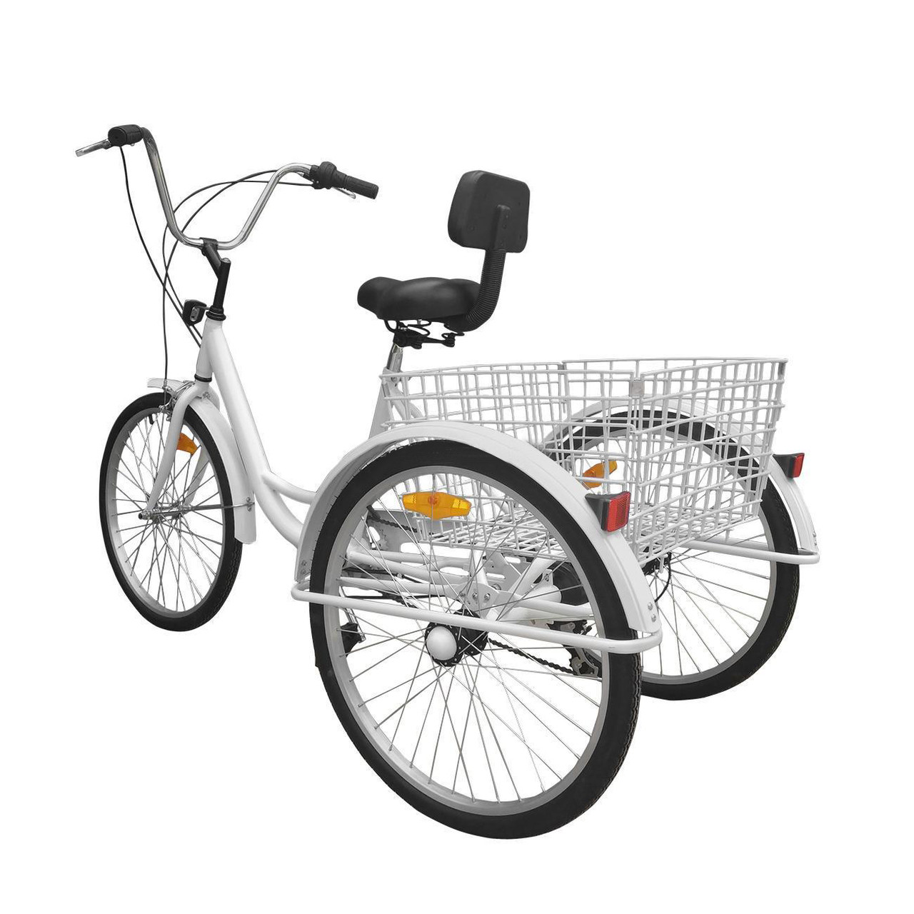 """24"""" Tricycle Adult 3-Wheel Trike 7-Speed Bicycle with Basket White"""