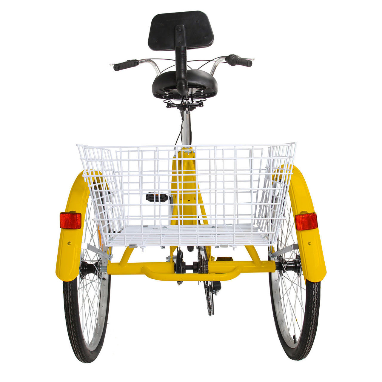 "24"" Tricycle Adult 3-Wheel Trike 7-Speed Bicycle with Basket Yellow"
