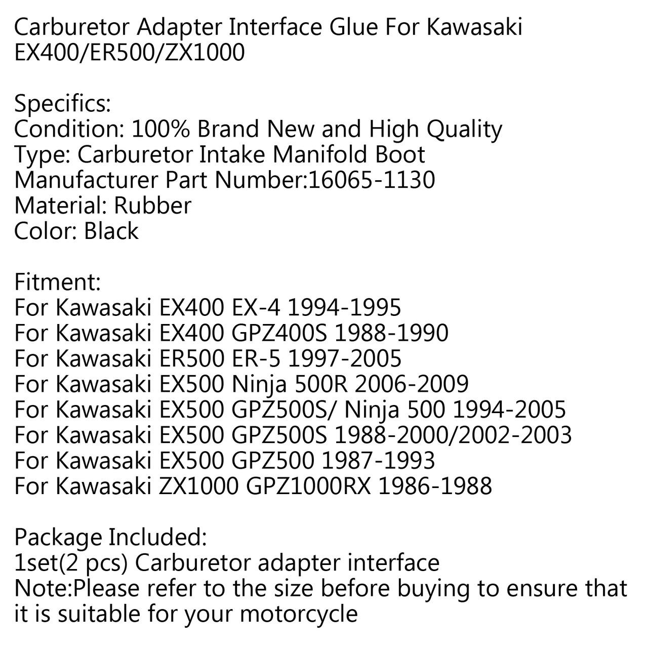 Carburetor Holder Intake Manifold Boot For Kawasaki ZX1000 GPZ1000RX 86-88