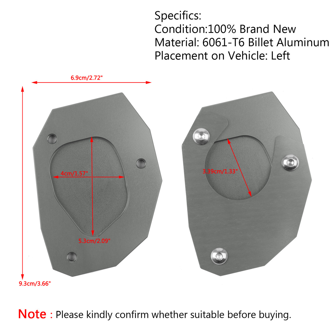 CNC Kickstand Side Plate Stand Extension Pad For BMW G310R G310GS 2017-18 Titanium
