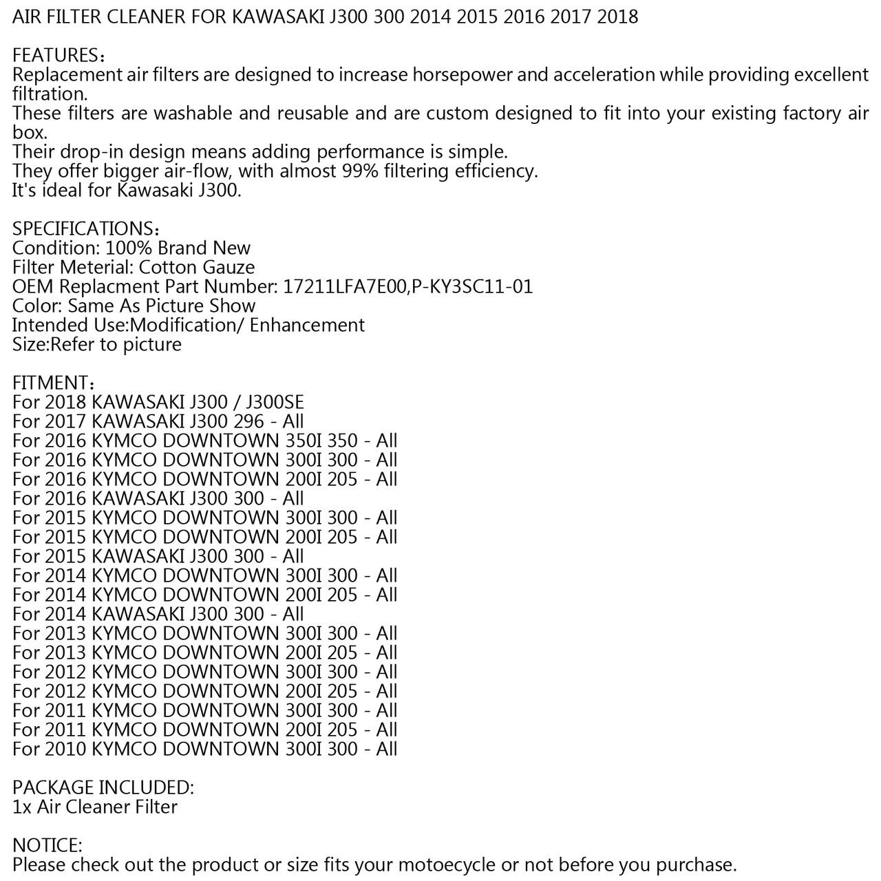 Air Filter for 2018 KAWASAKI J300 296 300, J300SE,Purple