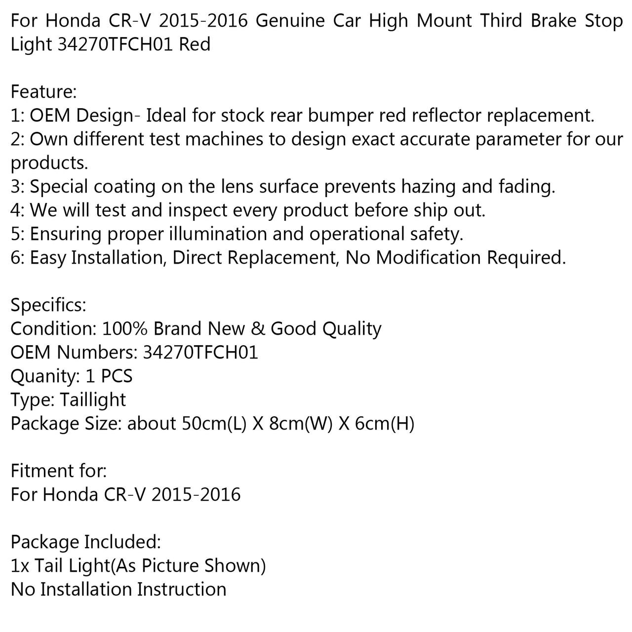 Genuine Car High Mount 3RD Brake Stop Light 34270TFCH01 For Honda CR-V 2015-2016 RED