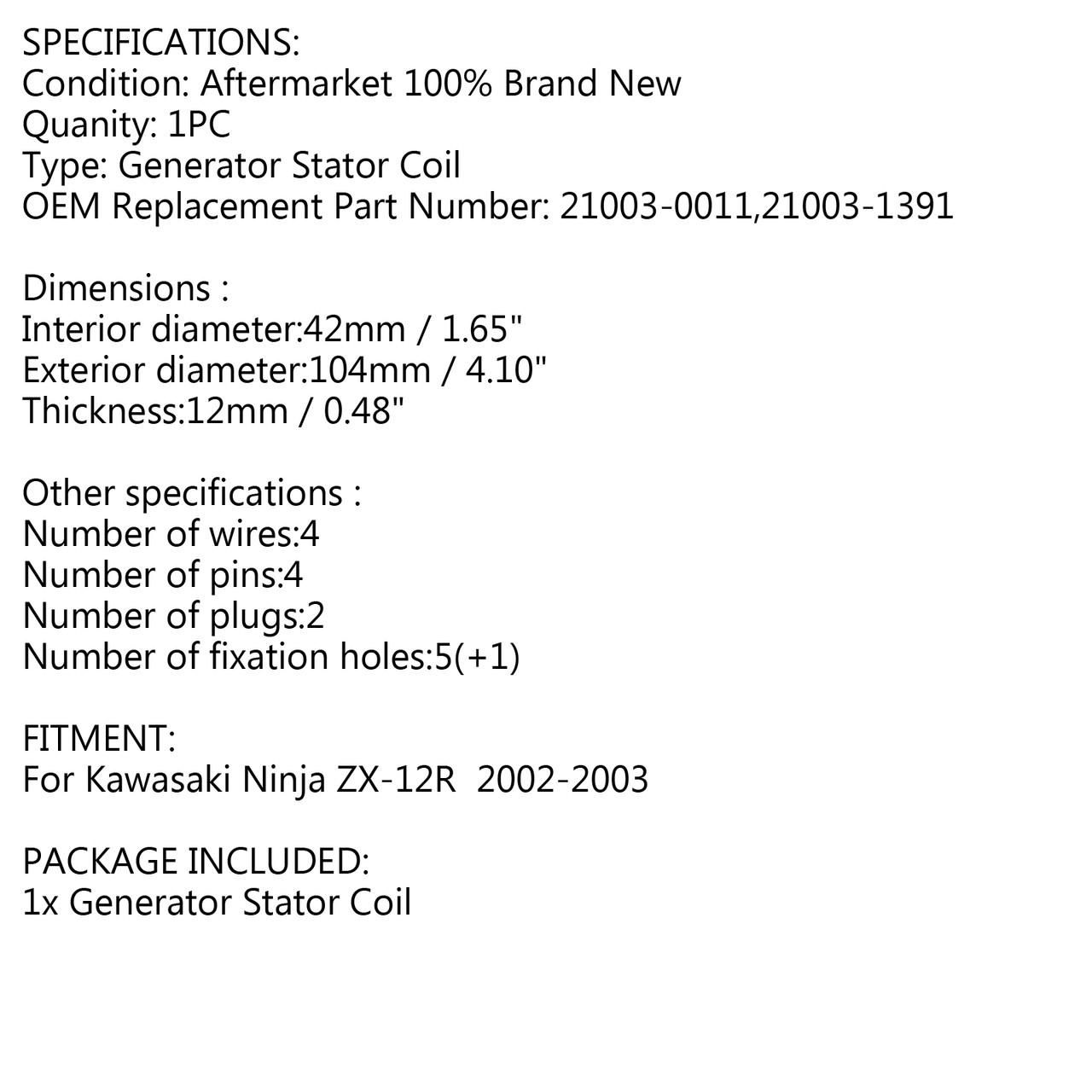 Generator Stator For Kawasaki Ninja ZX 12R 2002 2003 ZX12R ZX1200B ZX-12R