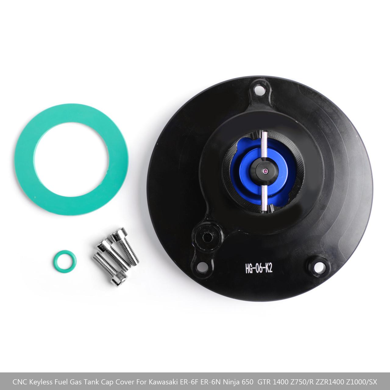 CNC Keyless Fuel Gas Tank Cap For Kawasaki ZX-6R ER-6F/6N Ninja 600 650 Blue