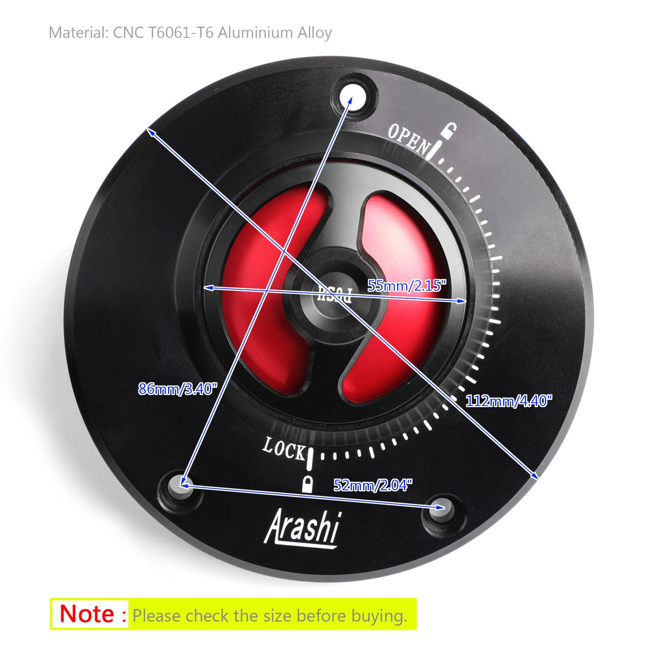 CNC Keyless Fuel Gas Tank Cap For Kawasaki GTR 1400 2010+ Ninja 1000 ZX-10R 2008+ Red