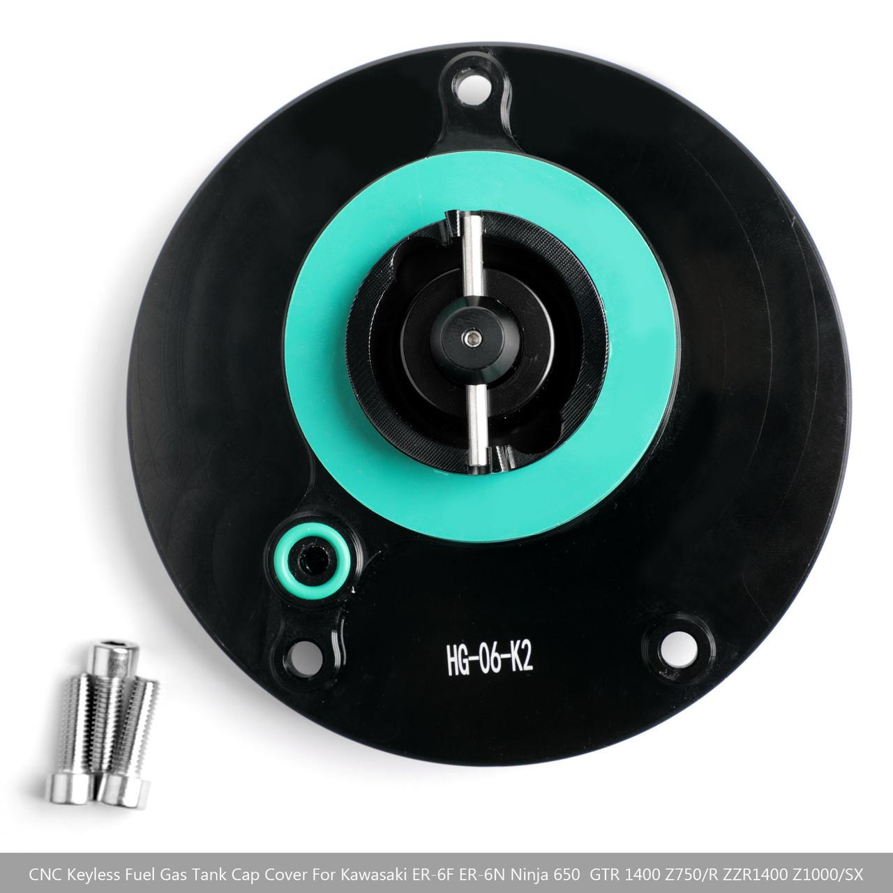 CNC Keyless Fuel Gas Tank Cap For Kawasaki GTR 1400 2010+ Ninja 1000 ZX-10R 2008+ Black