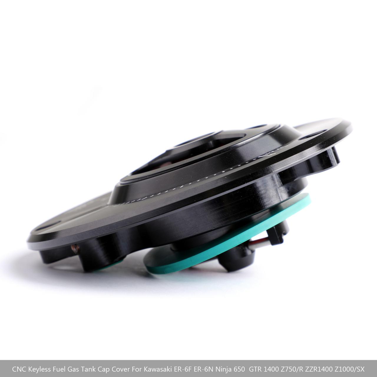 CNC Keyless Fuel Gas Tank Cap For Kawasaki Z750 Z750R 07-16 Z800 13-16 Z1000 Z1000SX 10+ Black