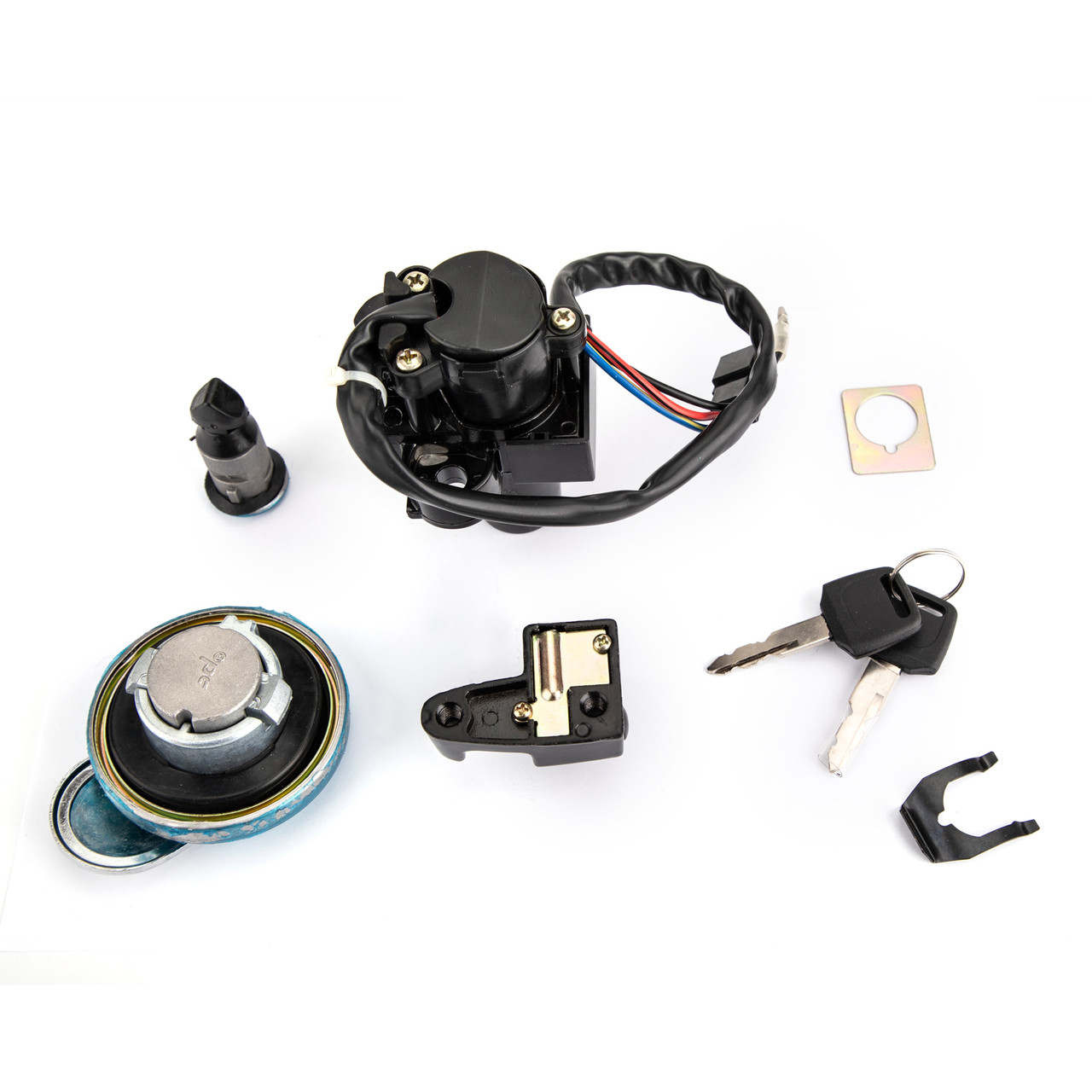 Ignition Switch Lock Fuel Gas Cap Seat Helmet Lock Keys Kit for Honda CL400 1999