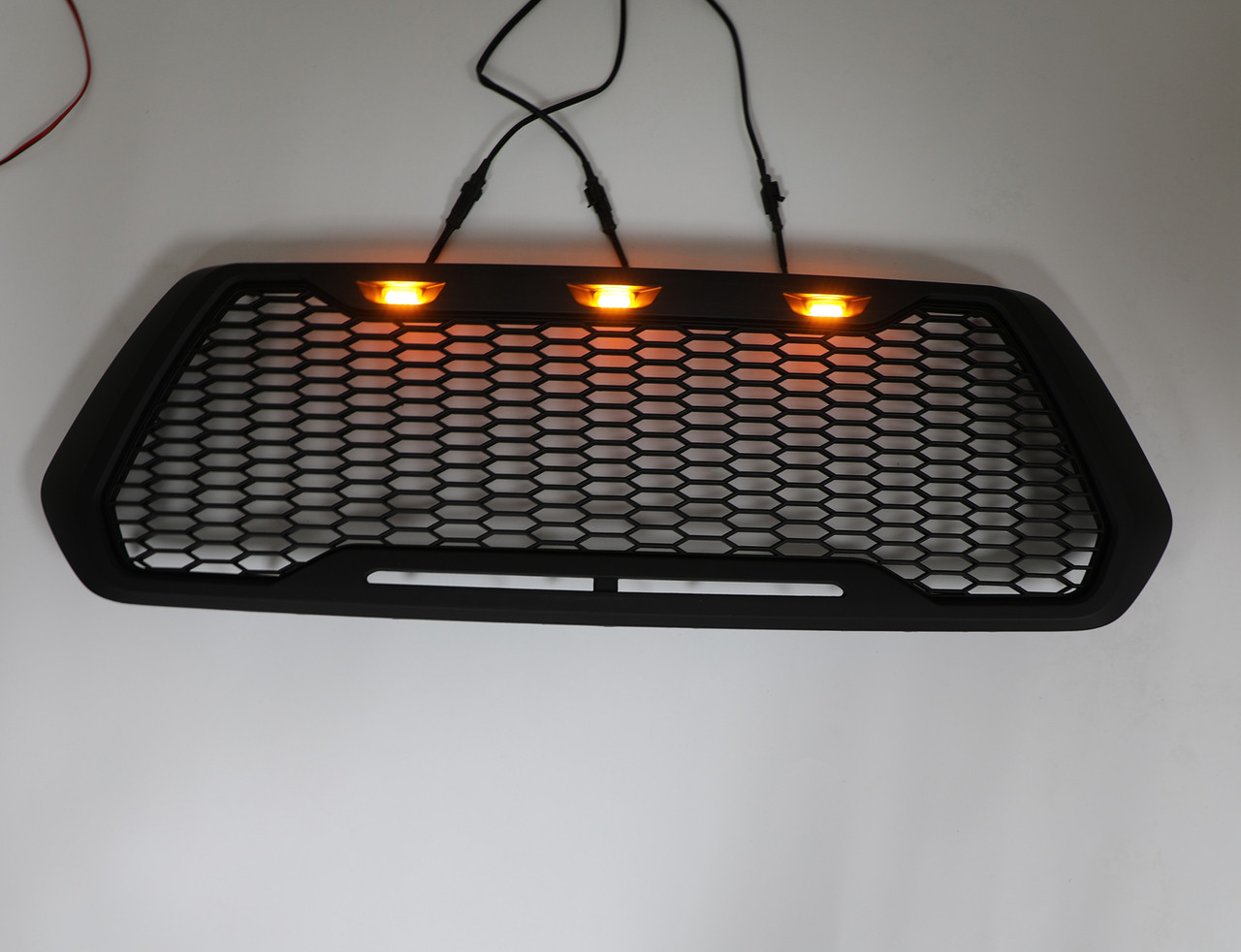 Raptor Style ABS Mesh Grille For Toyota Tacoma With 3 Amber LED Lights 2016-2018 Black