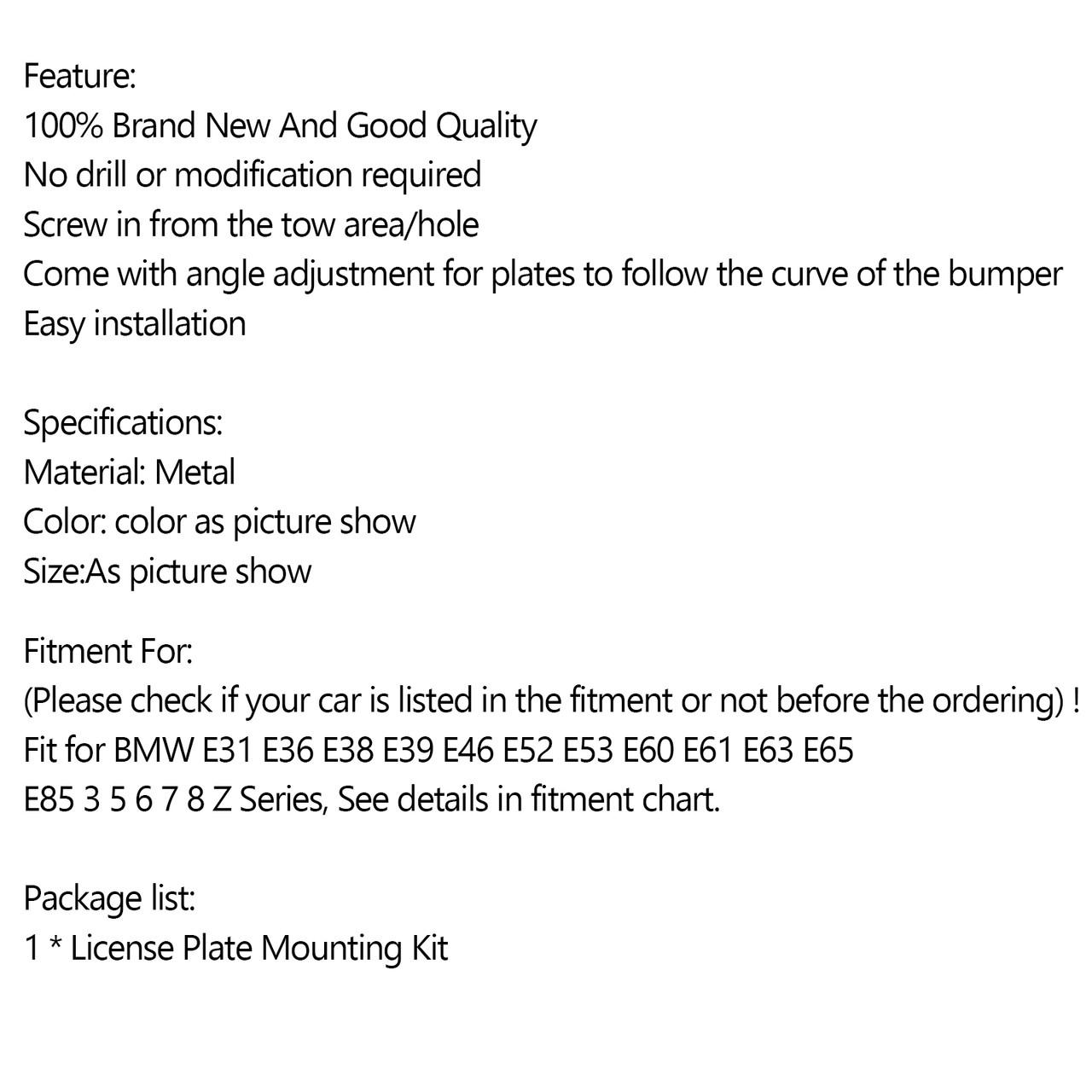 Bumper Tow Hook License Plate Mount Bracket For BMW E31 E36 E38 E39 E46 E52 E53 E60 Black