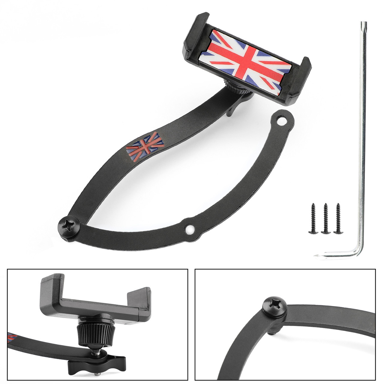 Union Jack Car Cell Phone Mount Folding Holder For Mini Cooper R55 R56 R57 R60 R61 Red