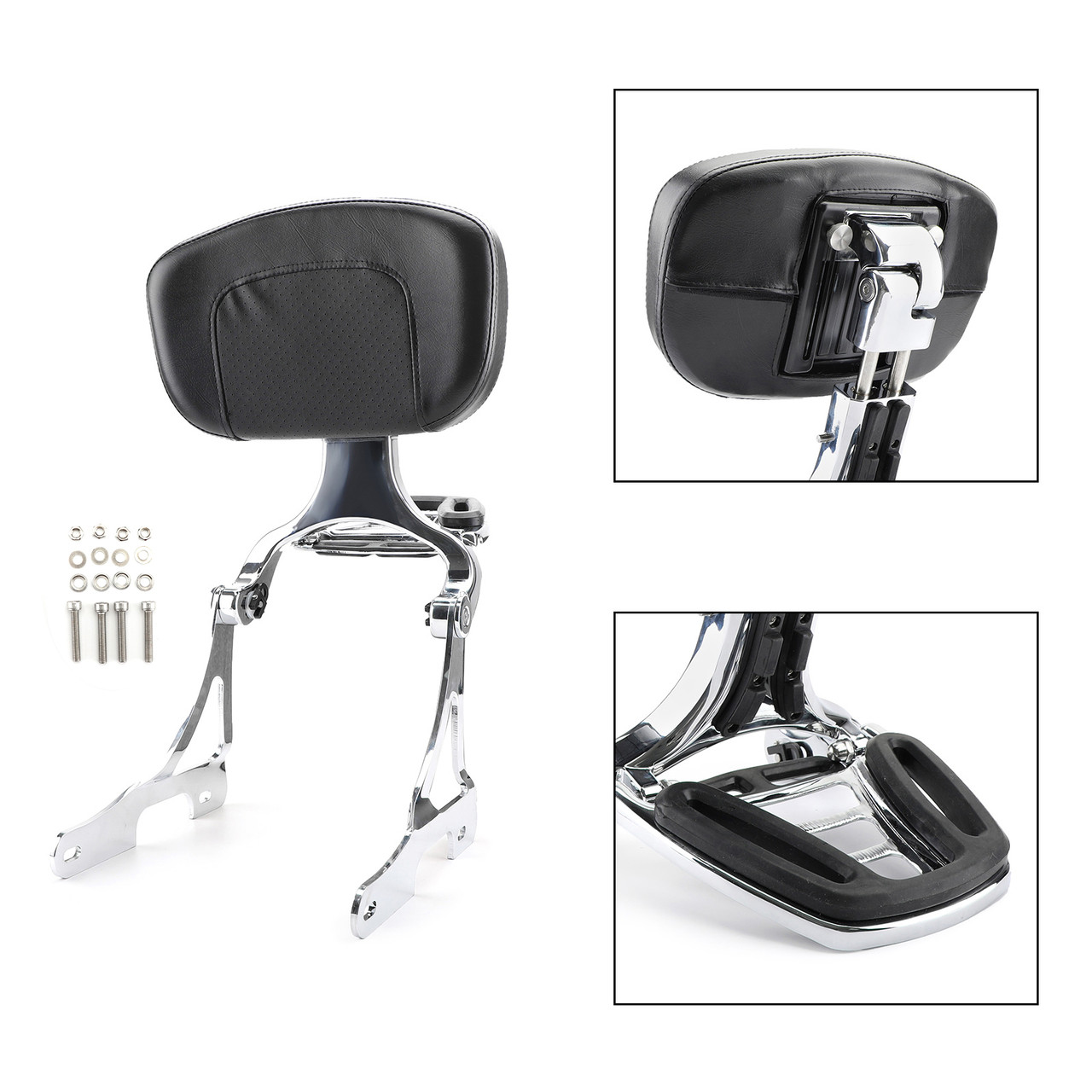 Sissy Bar Backrest w/ Luggage Rack For Harley Sportster 883 1200 48 06-18 Chrome