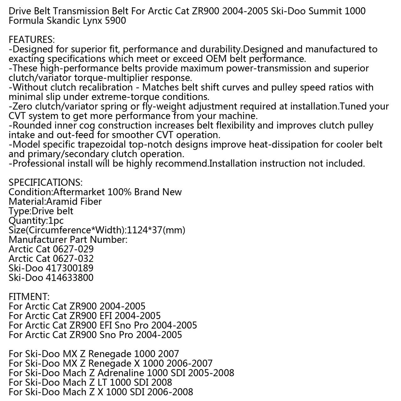Drive Belt For Arctic Cat ZR900 EFI Sno Pro 04-15 Ski-Doo MX Z Renegade 1000 2007 ki-Doo Formula MX 1991-1993 Lynx 5900 1999-2006 Black