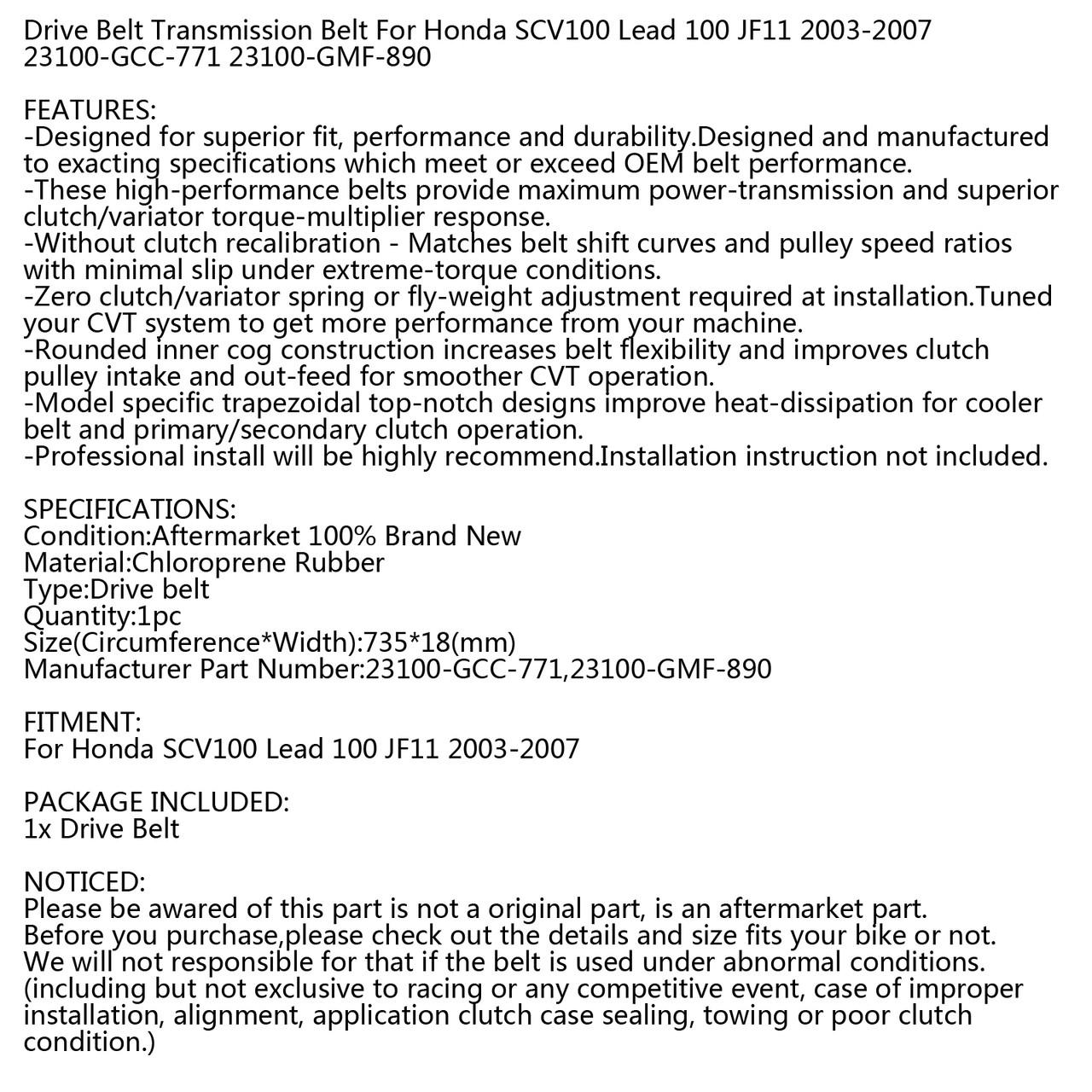 Drive Belt For Honda SCV100 Lead 100 JF11 2003-2007