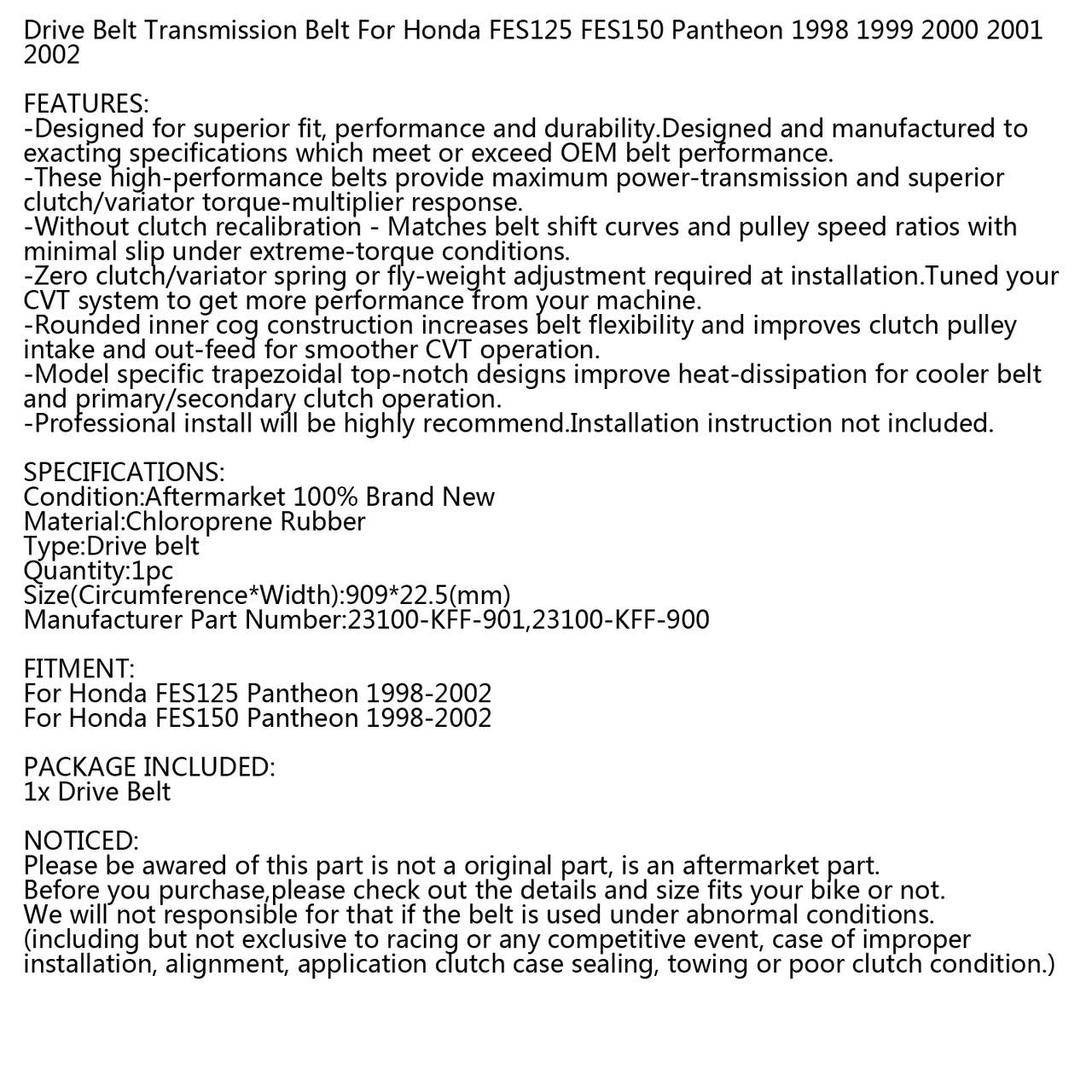 Drive Belt For Honda FES125 Pantheon FES150 1998-2002