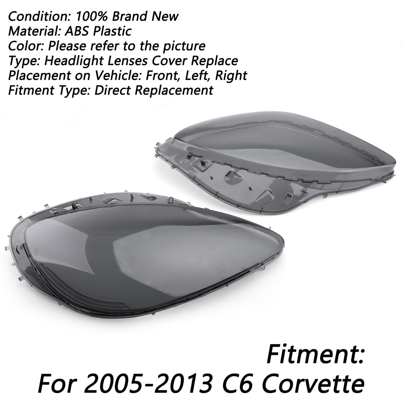 Pair Left Right Head Light Lenses Replacement Covers Smoke For C6 Corvette 05-13 Gray