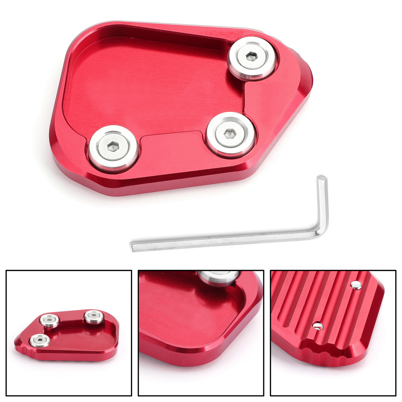 Kickstand Side Stand Extension Enlarger Pad For Honda CBR250RR 17-18 Red