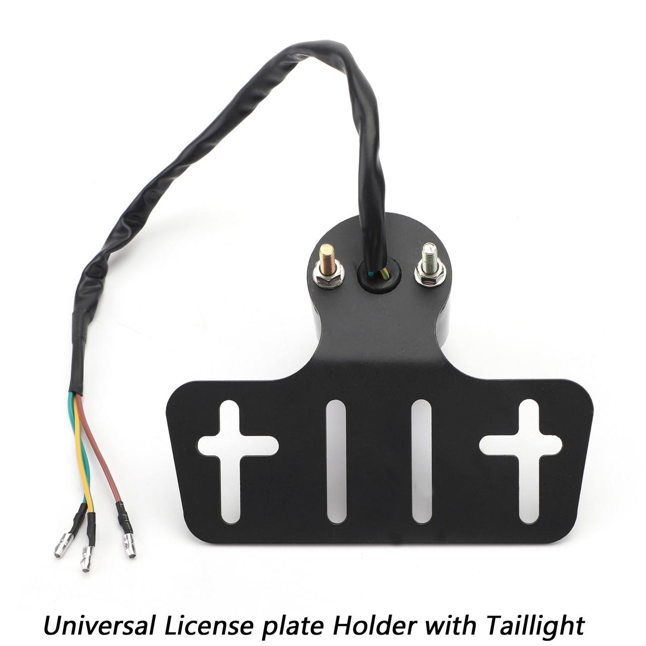 Rear License Plate Mount Holder Universal W Lamp Taillight Smoke