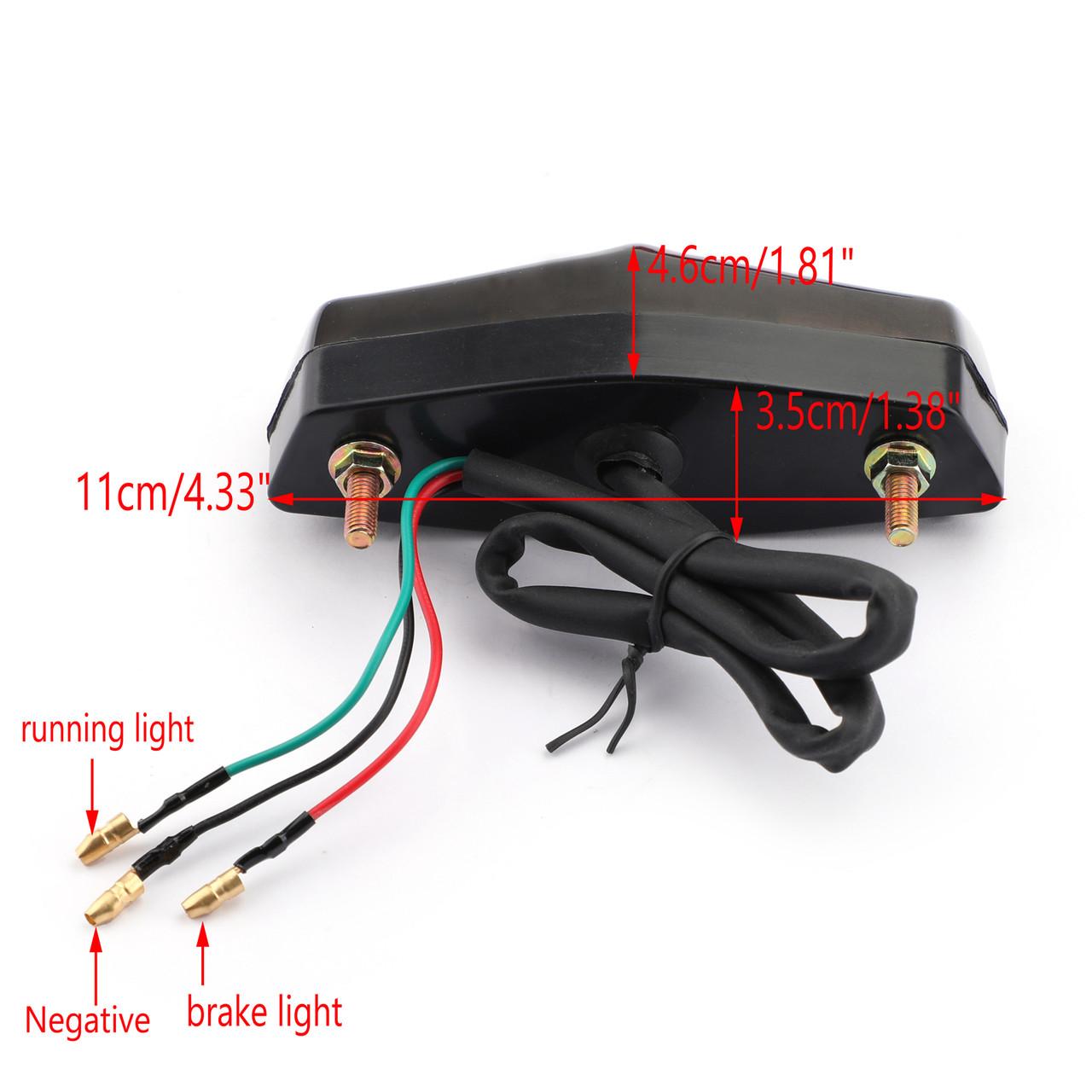 LED Red Brake Stop Running Rear Tail Light Lamp For Universal Motorcycle Smoke