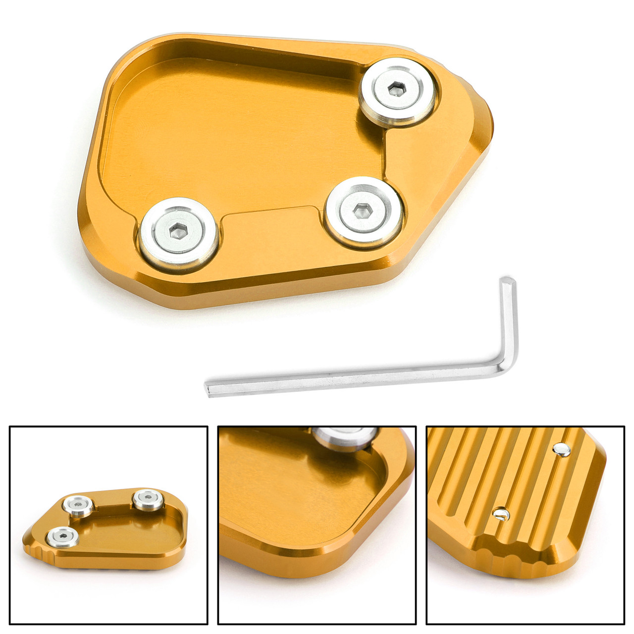 Kickstand Side Stand Extension Enlarger Pad For Honda CBR250RR 17-18 Gold