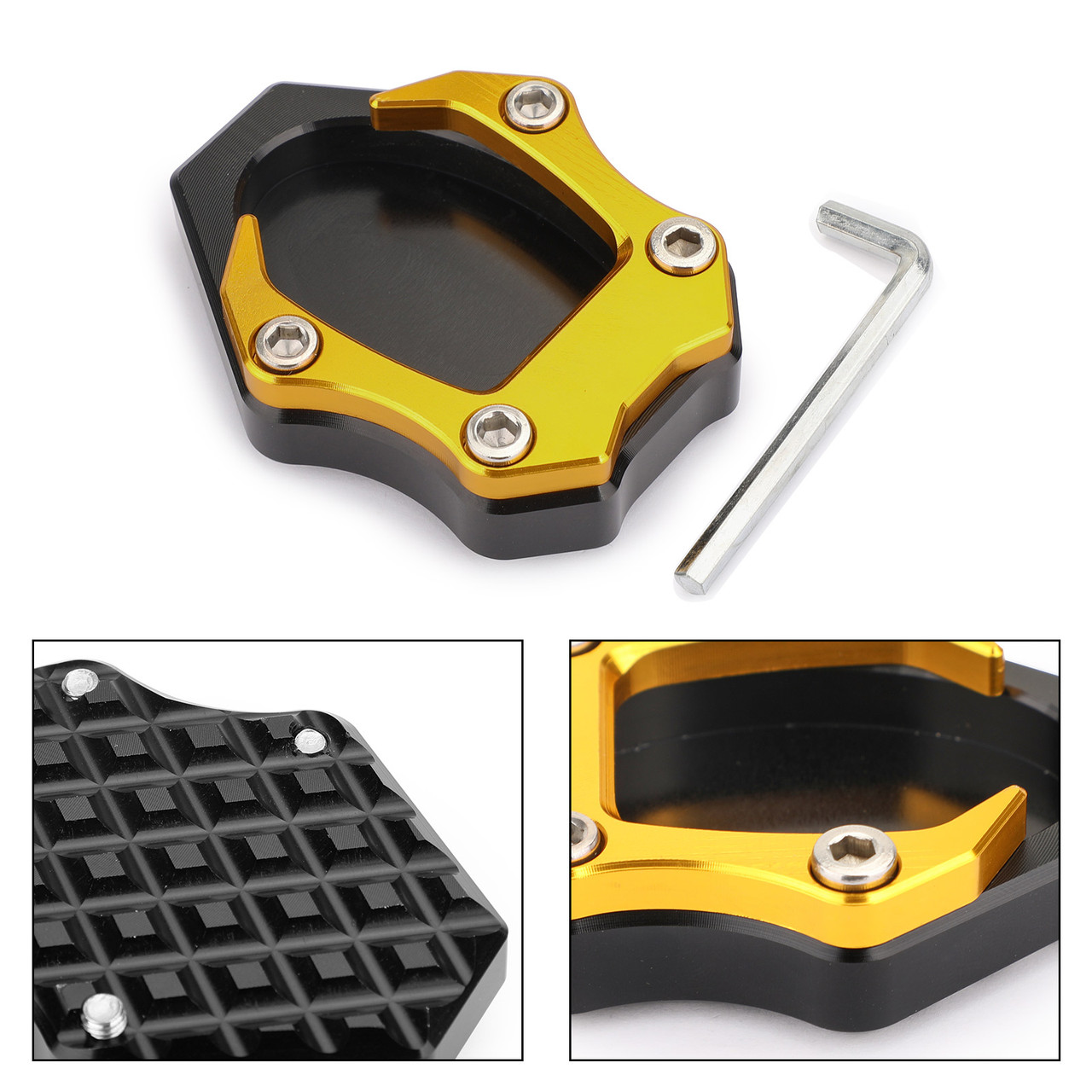CNC Kickstand Side Stand Plate Extension Pad For Kawasaki Ninja 400 250 18 Gold