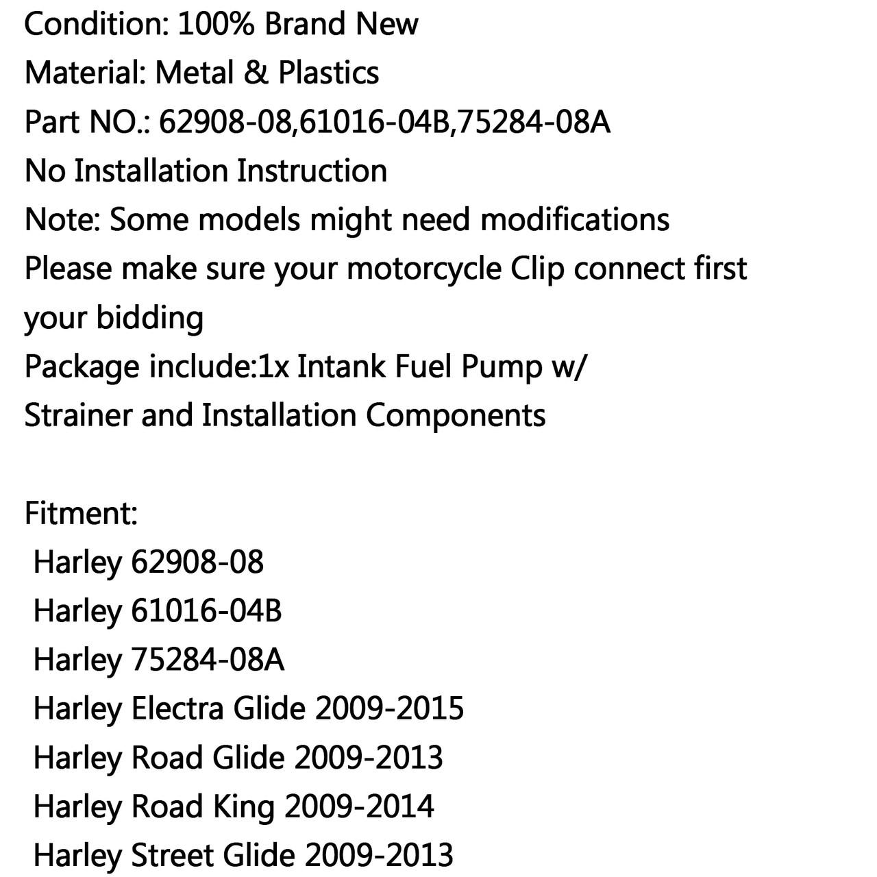 Fuel Pump For Harley 62908-08 61016-04B Electra Glide Road Glide Road King Street Glide Breakout FXSB FXS Heritage Softail Night Train XG500 XG750 Silver