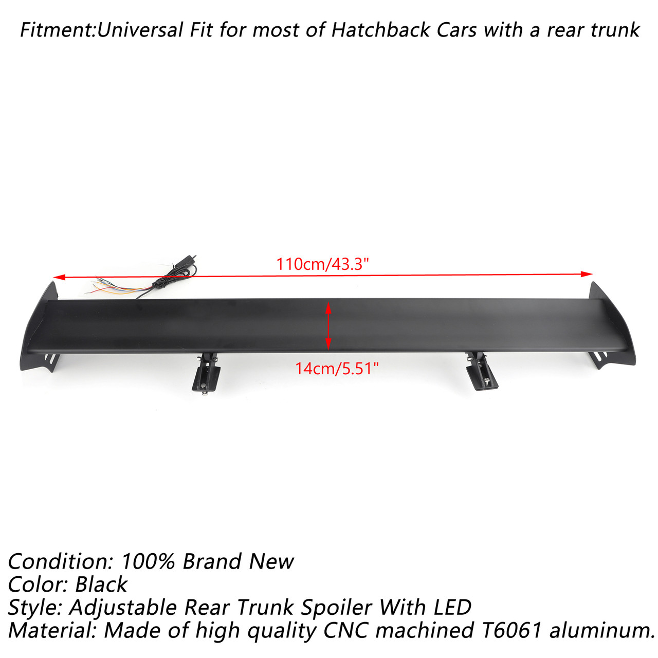 Universal Hatch Adjustable Aluminum Rear Trunk Wing Racing Spoiler With LED