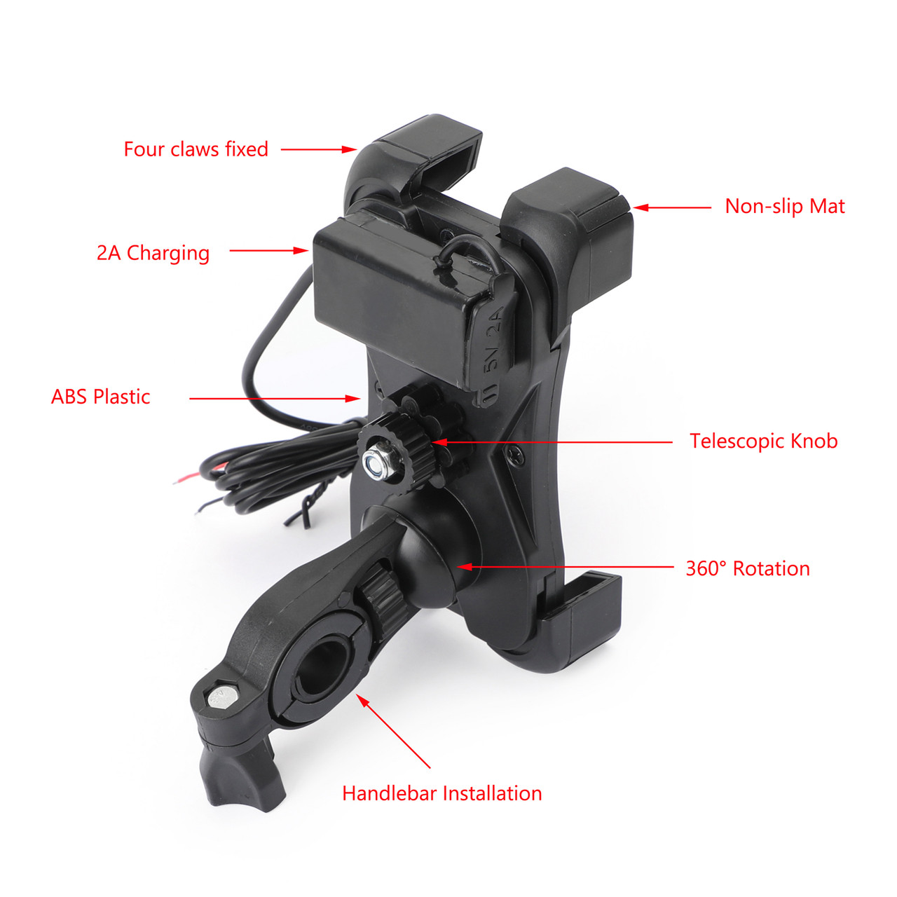 ABS Universal Motorcycle Handlebar Holder With USB Charger For Mobile Phone GPS Black