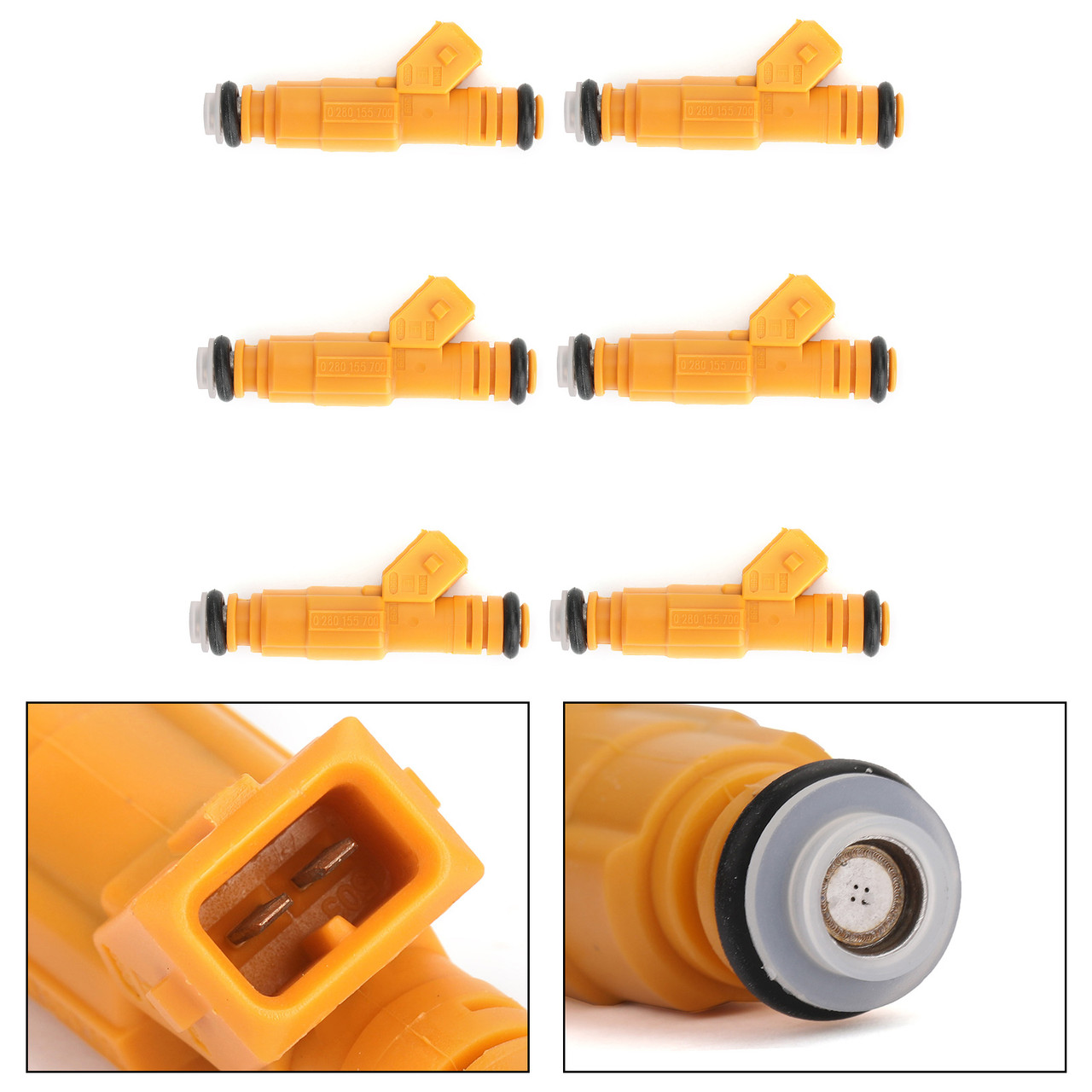 6PCS Fuel Injectors For Cherokee 89-98 Grand Cherokee 93-98 Wrangler 91-98 Comanche 87-91 Yellow