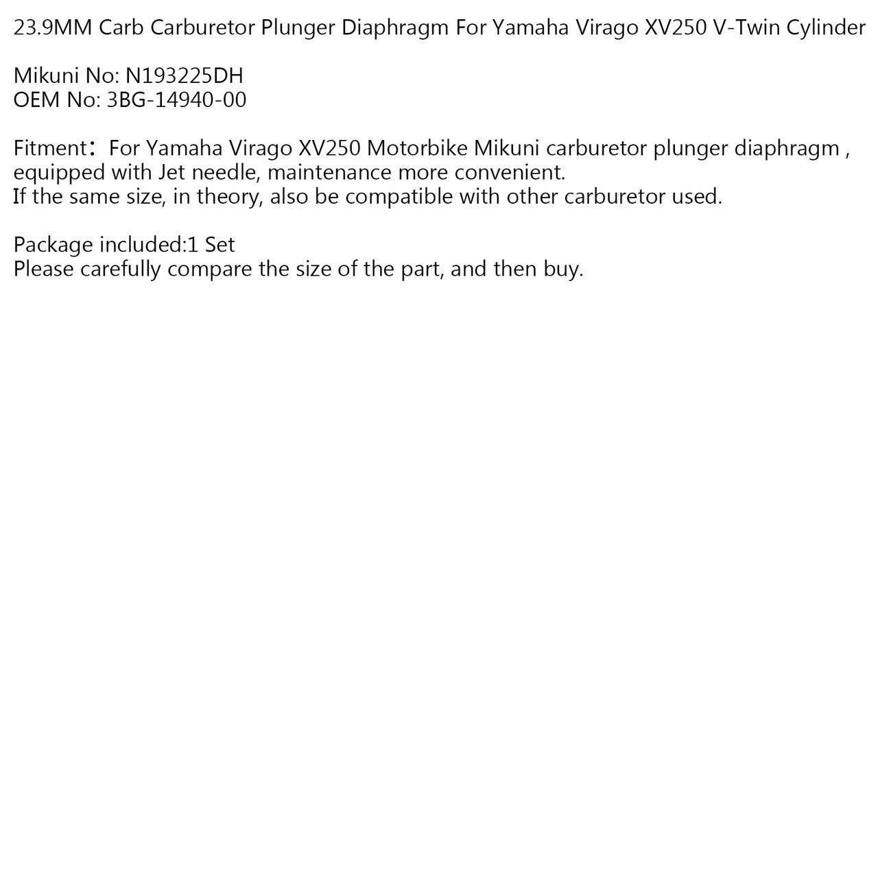 23.9MM Carb Carburetor Plunger Diaphragm For YM Virago XV250 V-Twin Cylinder