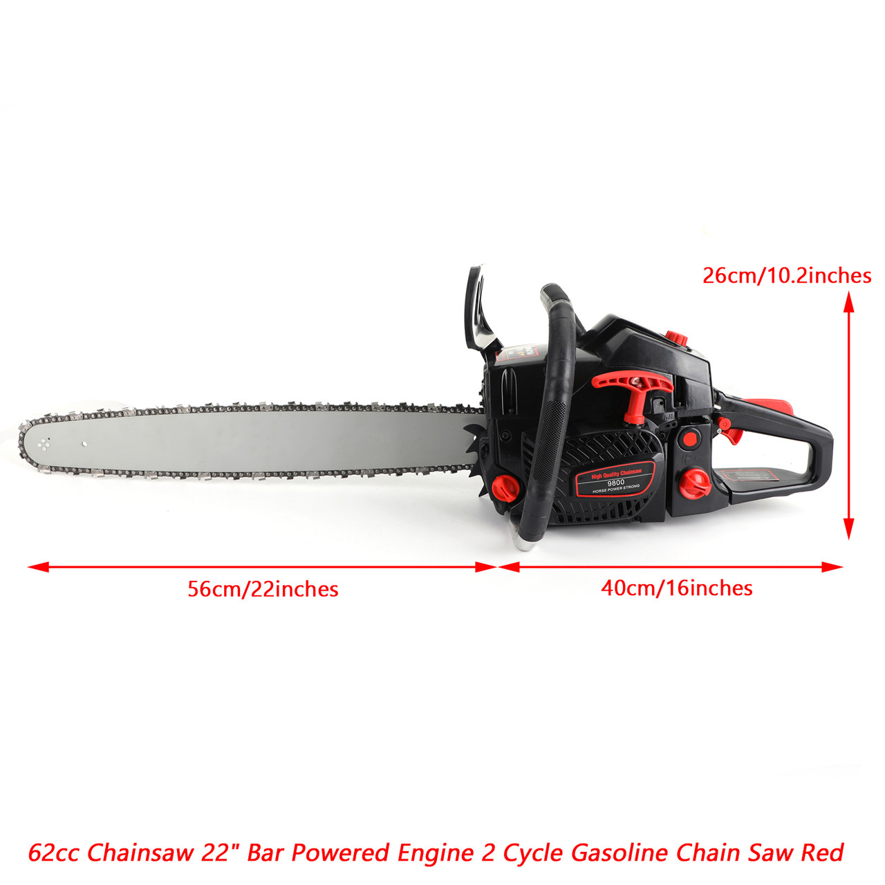 "62cc Chainsaw 22"" Bar Powered Engine 2 Cycle Gasoline Chain Saw Red"