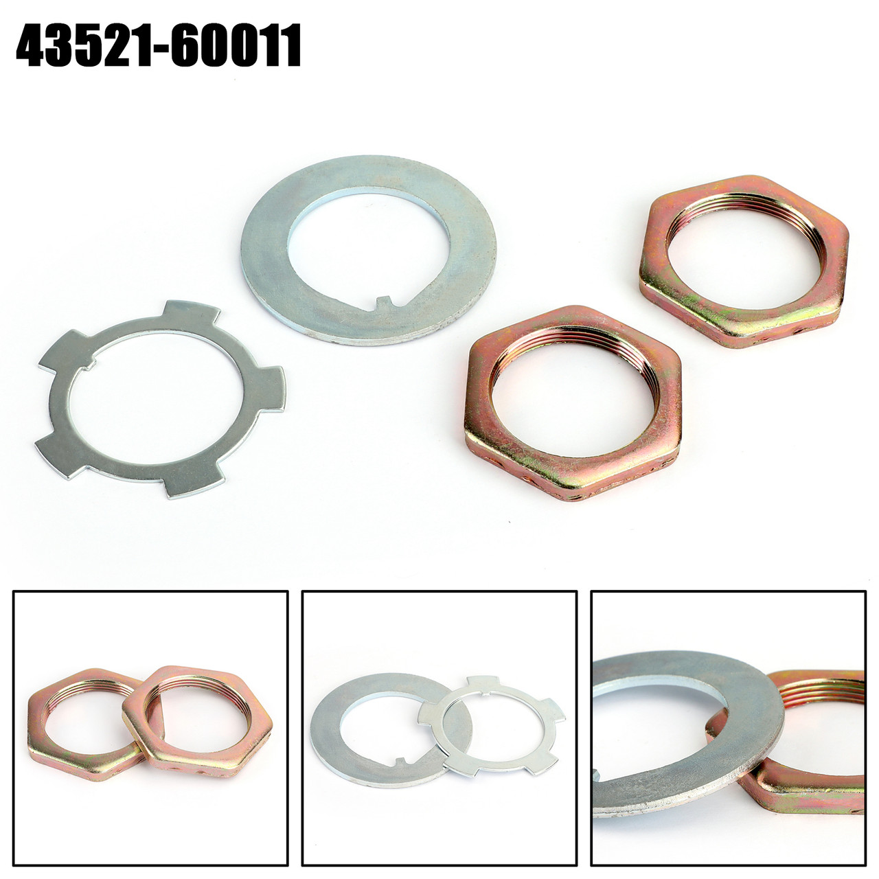 Front Axle Hub Spindle Lock Nut Washer Kit 43521-60011 For Toyota T100 92-98 4Runner 84-95 LX450 96-97 LX470 98-07 Cruiser 40 55 76-98