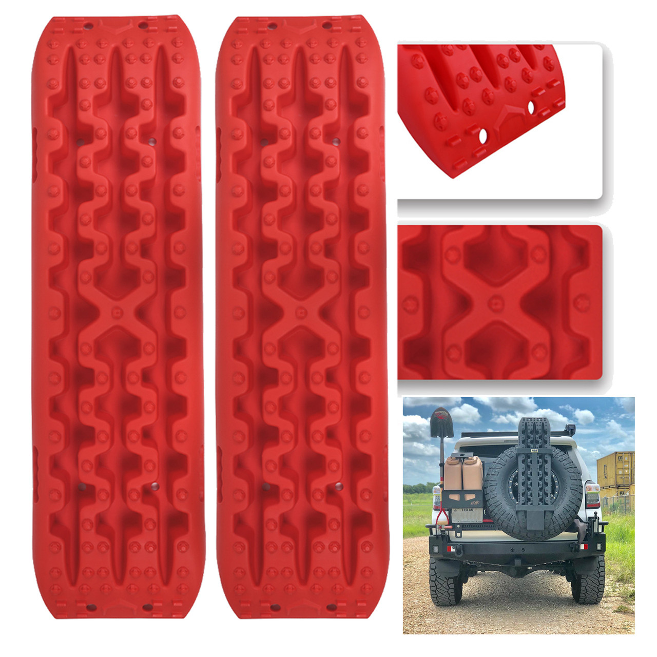 4GEN Recovery Tracks Traction Sand Snow Mud Track Tire Ladder 4WD Red