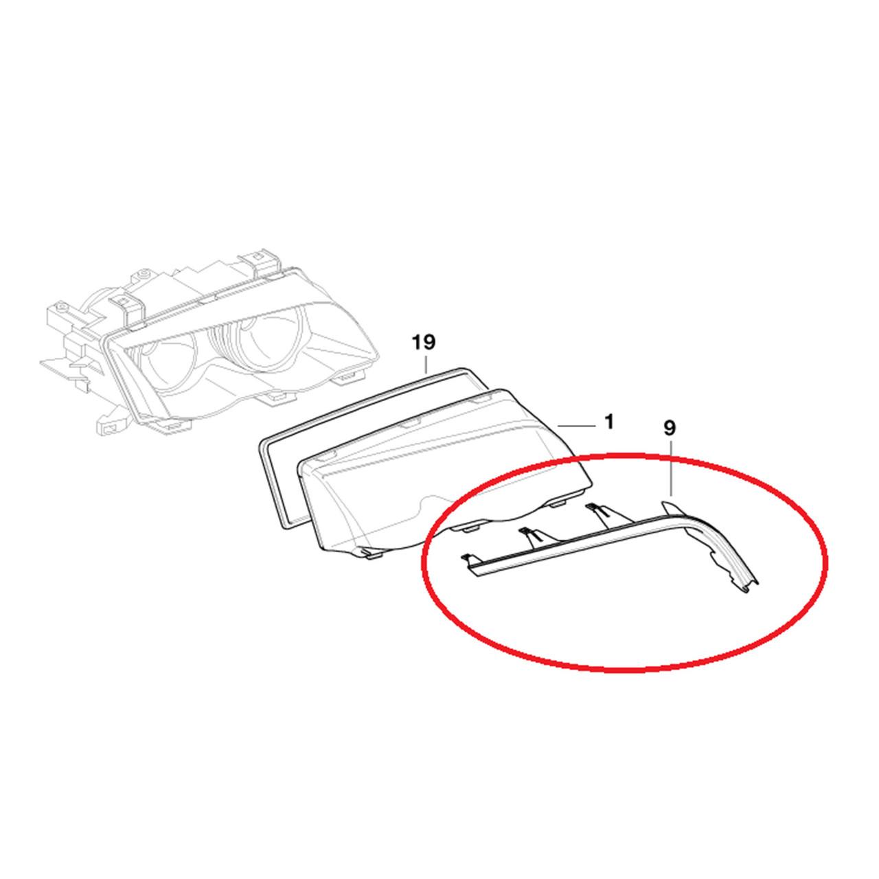 Upper Headlight Cover Strip Left Right 63128384487 For BMW 3 E46 98-01