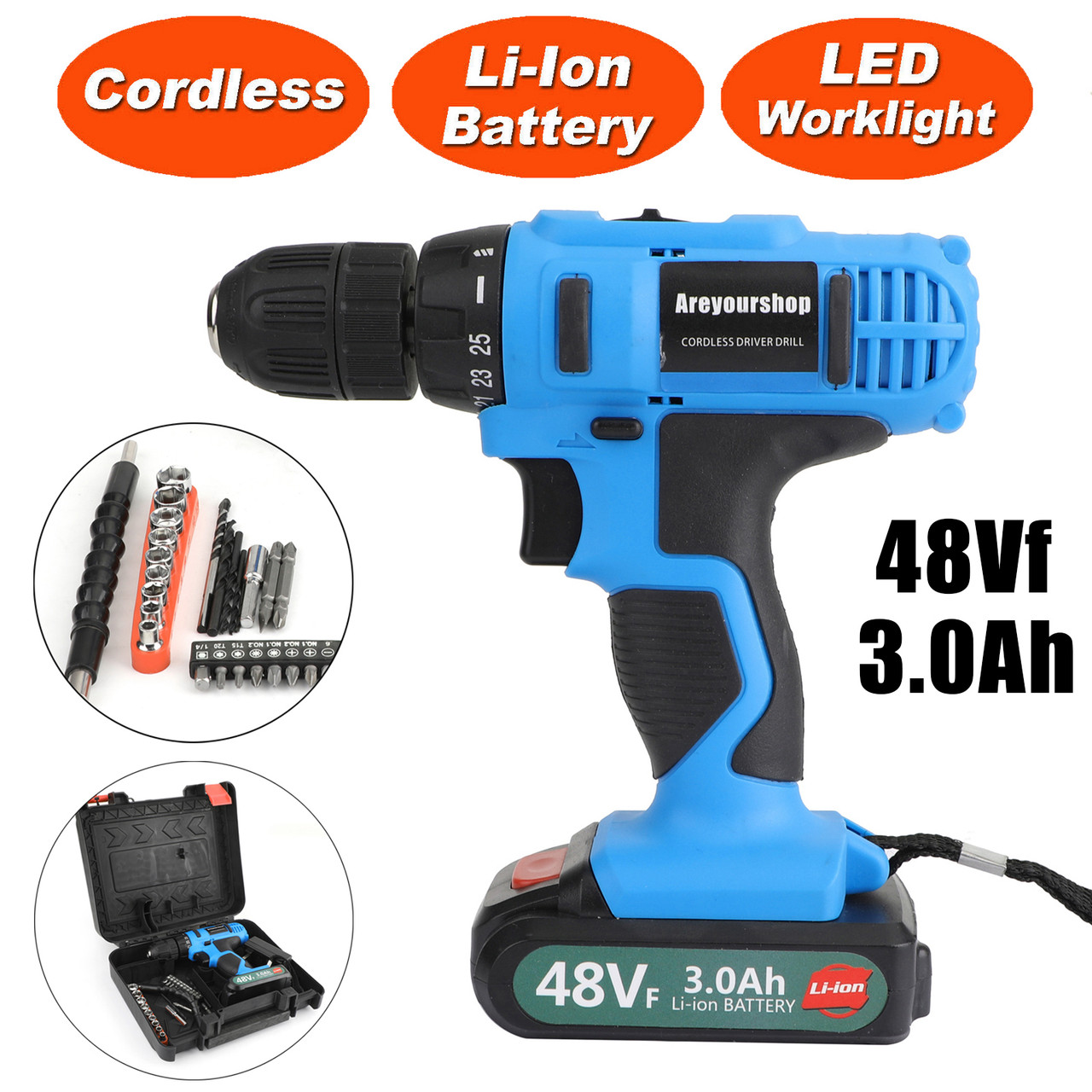 21-Volt drill 2 Speed Electric Cordless Drill / Driver with Bits Set & Battery Blue