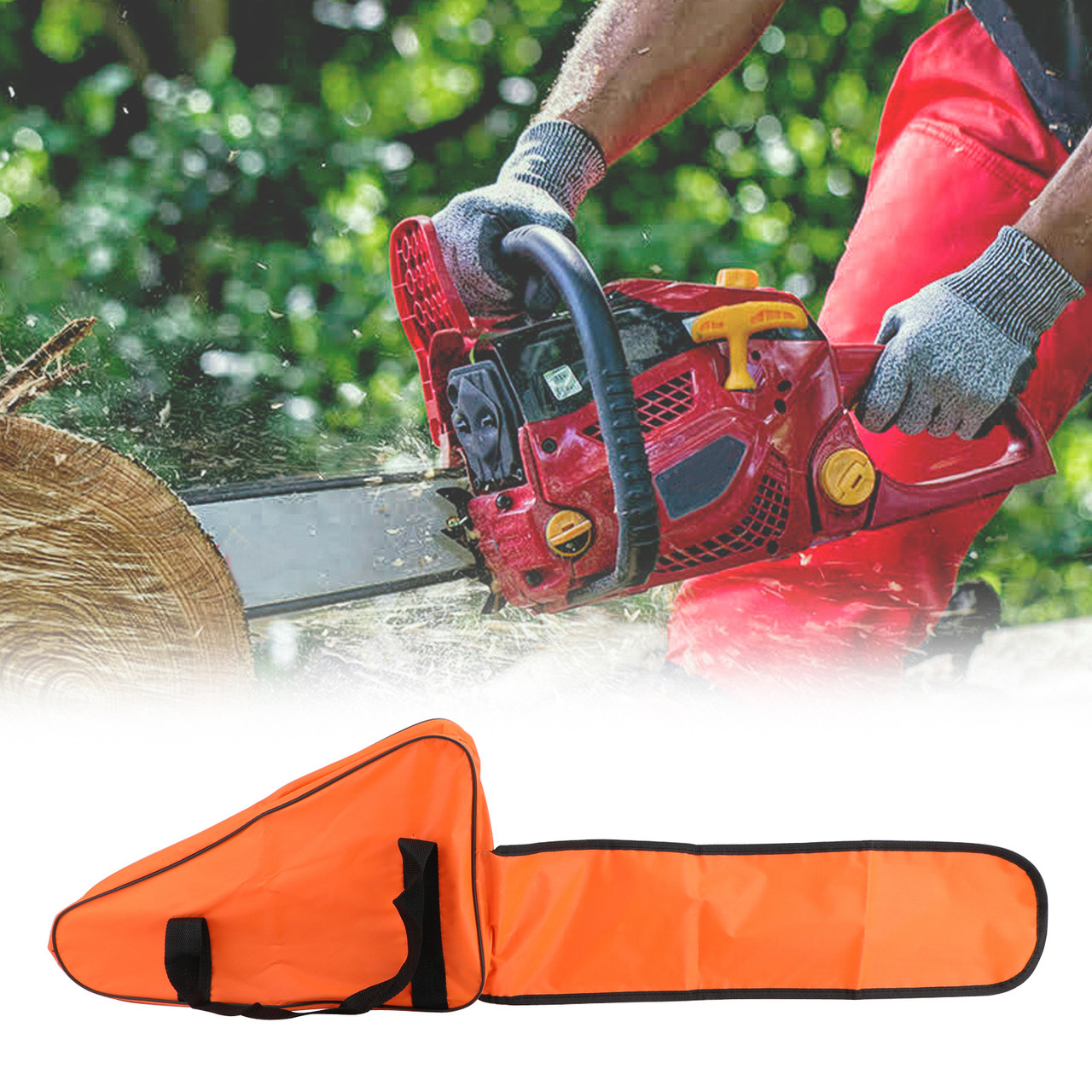 "22"" Chainsaw Carrying Bag Holdall Box Chain Saw Portable Orange"