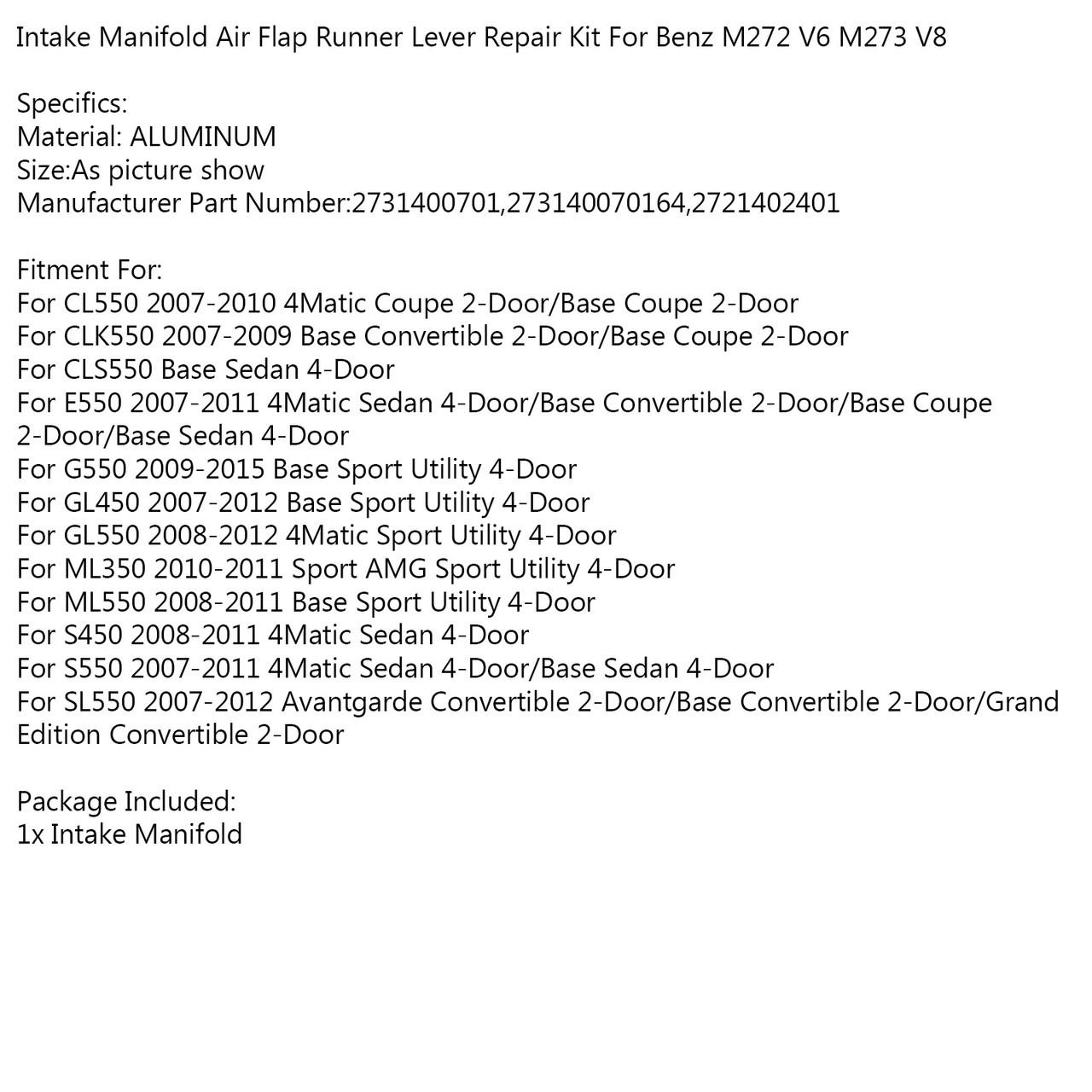 Intake Manifold Air Flap Runner Lever Repair Kit For Benz CL550 07-10 CLK550 07-09 CLS550 E550 07-11 G550 09-15 GL450 07-12 GL550 08-12 ML350 10-11 ML550 08-11