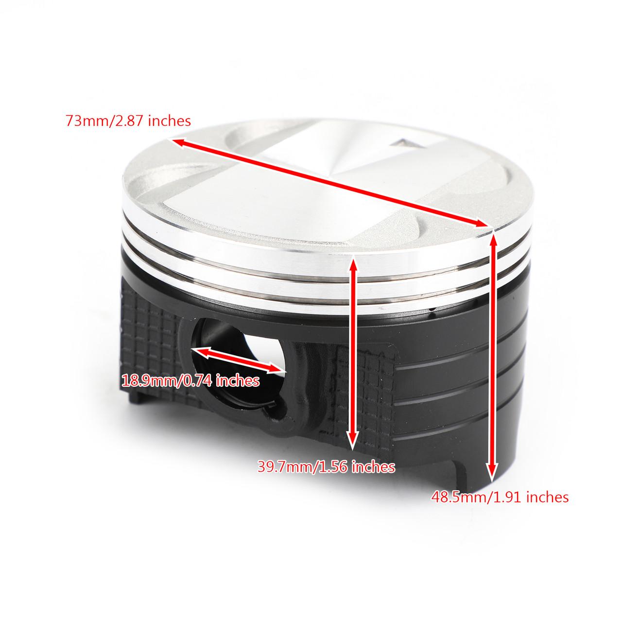 Piston Rings Pin Clips Kit STD 73mm Bore for Suzuki DR250 90-91 DR250R 98-00 DR250S 90-94 DR250SE 95 DRZ250 01-07 AN250 Burgman 250 98-06