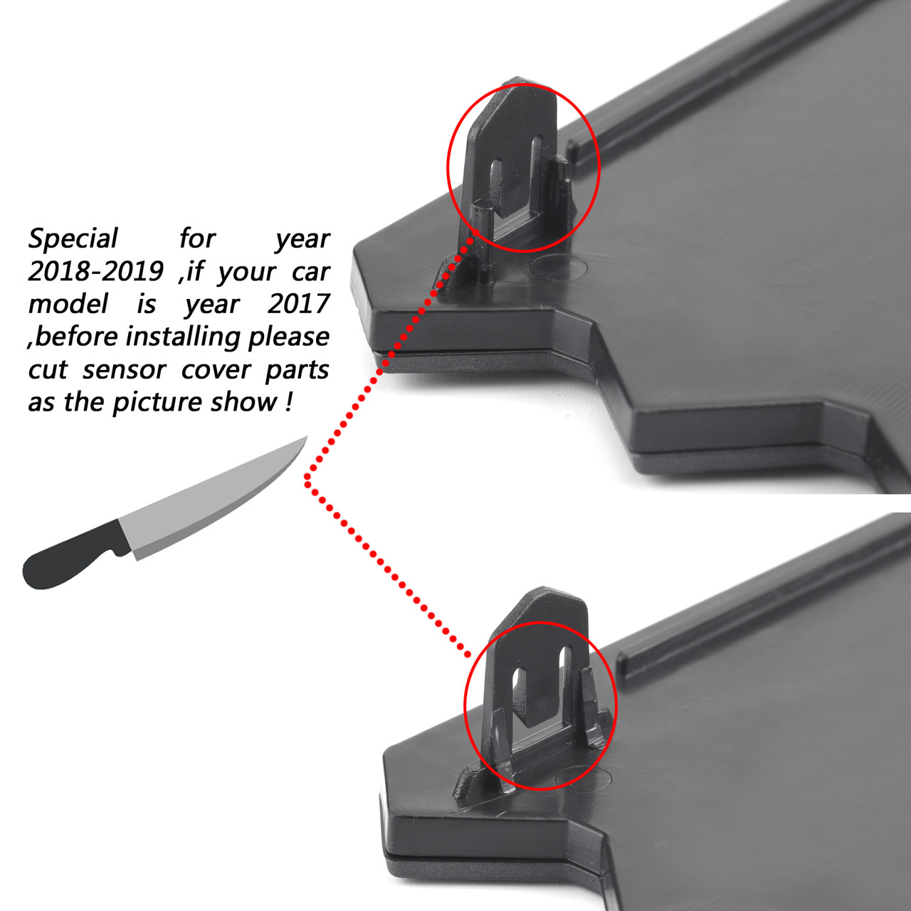 Trim off the tab of the sensor cover as shown, this only apply to 2017 models