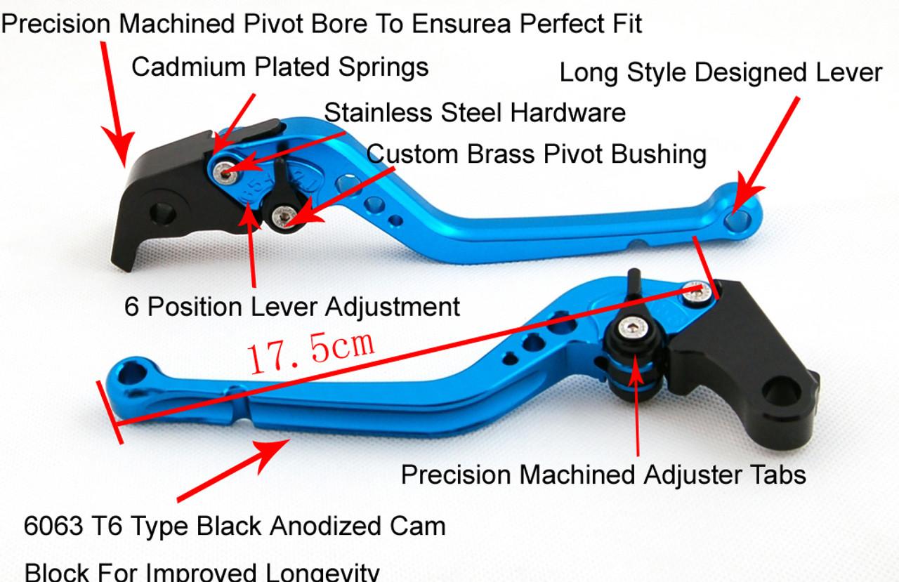 Long Brake Clutch Levers For Yamaha YZF R6 05-14 YZF R1 04-08 R6S Black