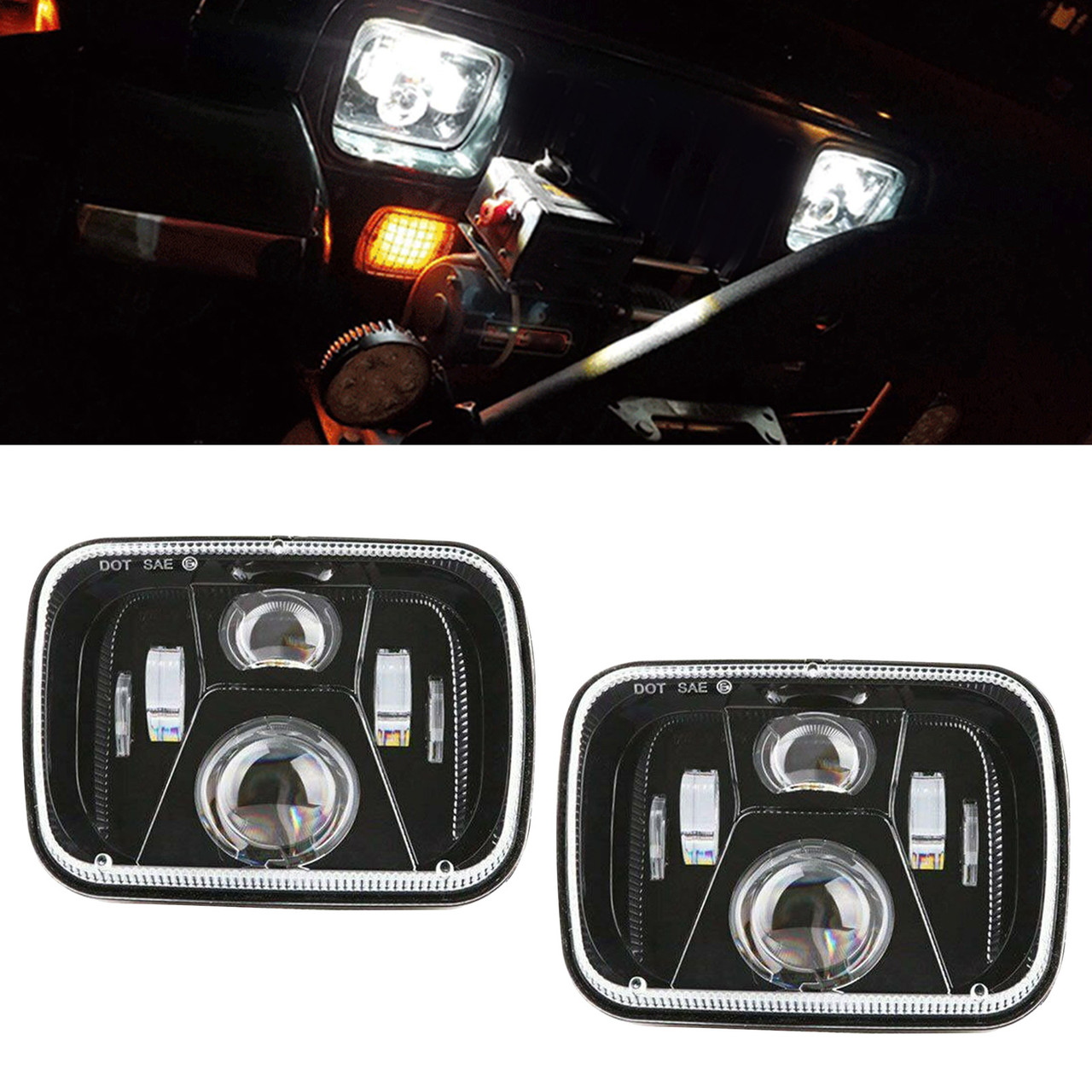 250W 5x7 Inch Led Headlights 7x6 Sealed Beam Headlamp with High Low Beam Kit
