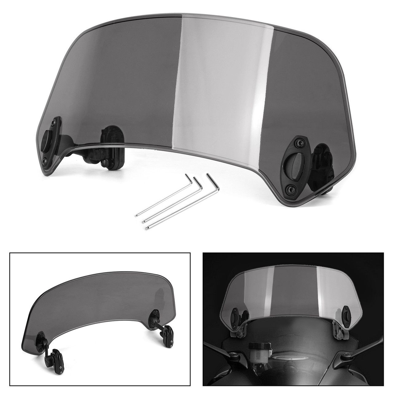 Universal Plastic Scooter Motorcycle Motorbike Front Windscreen Windshield Gray