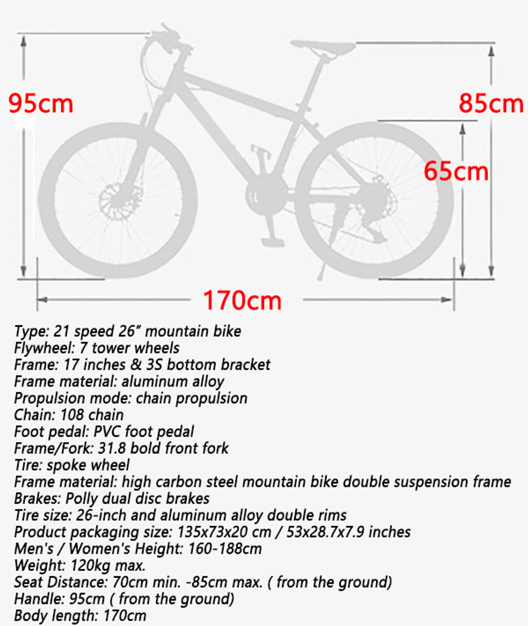 "21 Speed 26""  Adult Mountain Bike Aluminum Alloy Carbon Steel Bicycle Disc Bicycles White+Black"