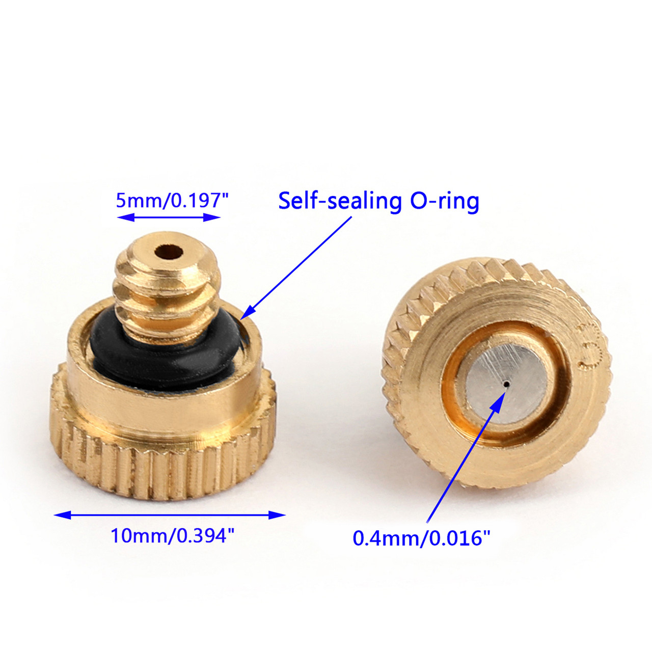 """5PCS 0.016"""" 10/24 Brass Misting Nozzles Water Mister Sprinkle For Cooling System"""