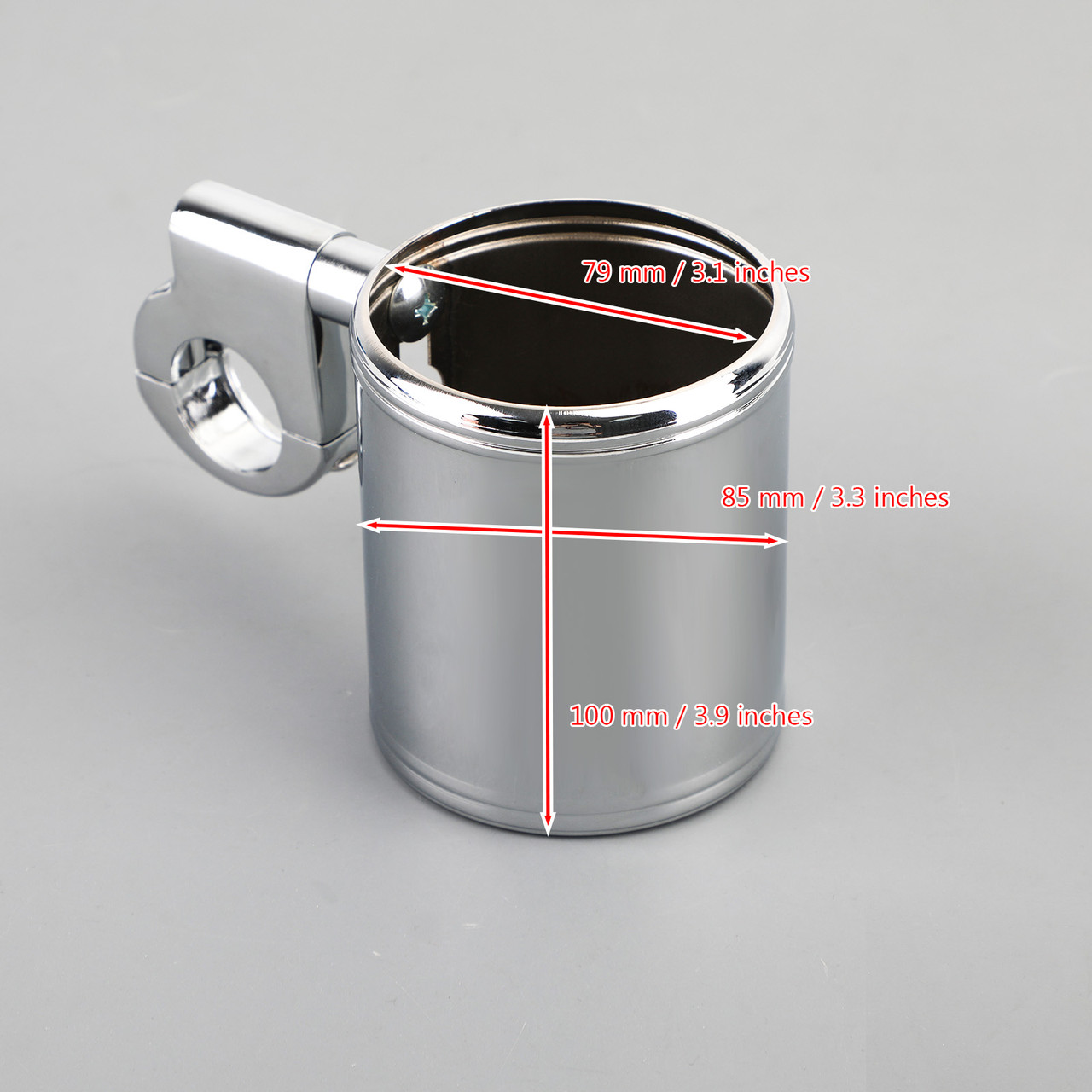"""Motorcycle ATV Chrome Cup Holder Fit for 7/8"""" 1"""" 1-1/4"""" Handlebar Universal"""