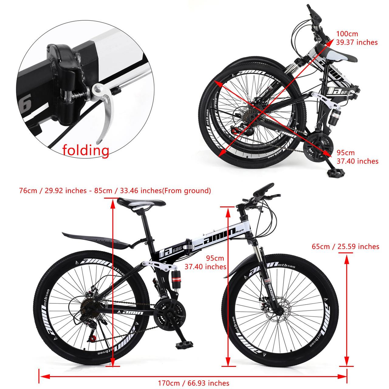 Adult 26 inch Folding Mountain Bike 21 Speed Bicycle Full suspension MTB White+Black