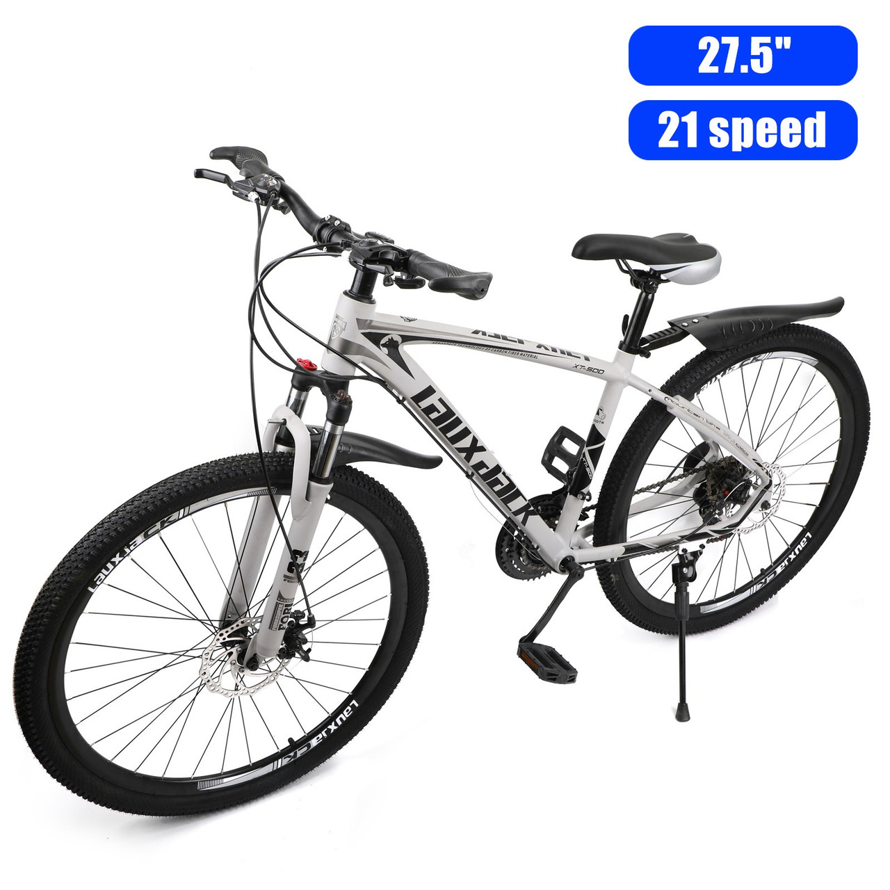 27.5 inches Wheels 21 Speed Unisex Adult Mountain Bike Bicycle MTB White+Black
